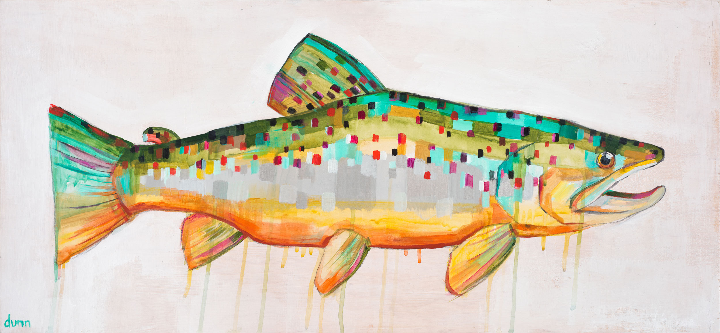 BROWN TROUT, oil on board, 16 x 36 inches, original sold -prints available below
