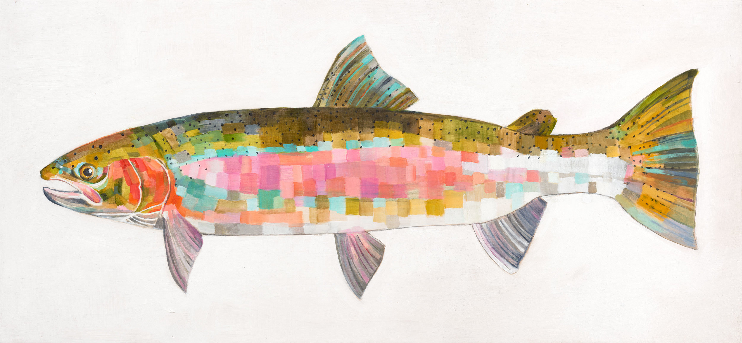 STEELHEAD TROUT, oil on board, 16 x 36 inches -prints available below
