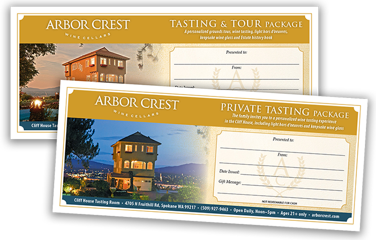 Gift Certificates for customized Tastings —  always the right size!