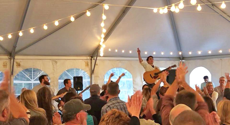 Justin James    inspired lots of dancing under the Vineyard Tent during his show last year. Spring weather can't stop the music!