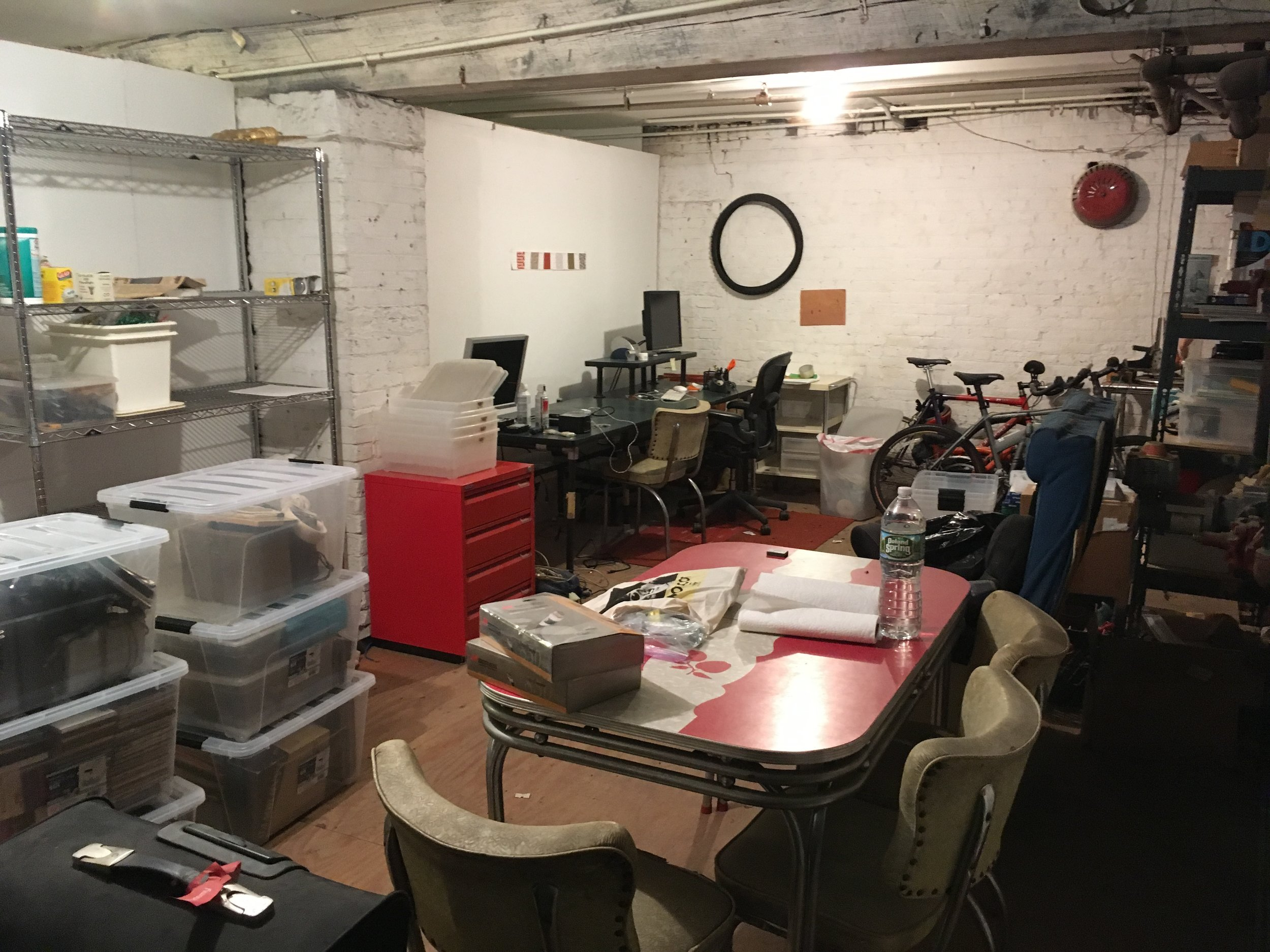 Studio #3: Our current studio mate is in the process of moving, therefore space is occupied and somewhat cluttered…