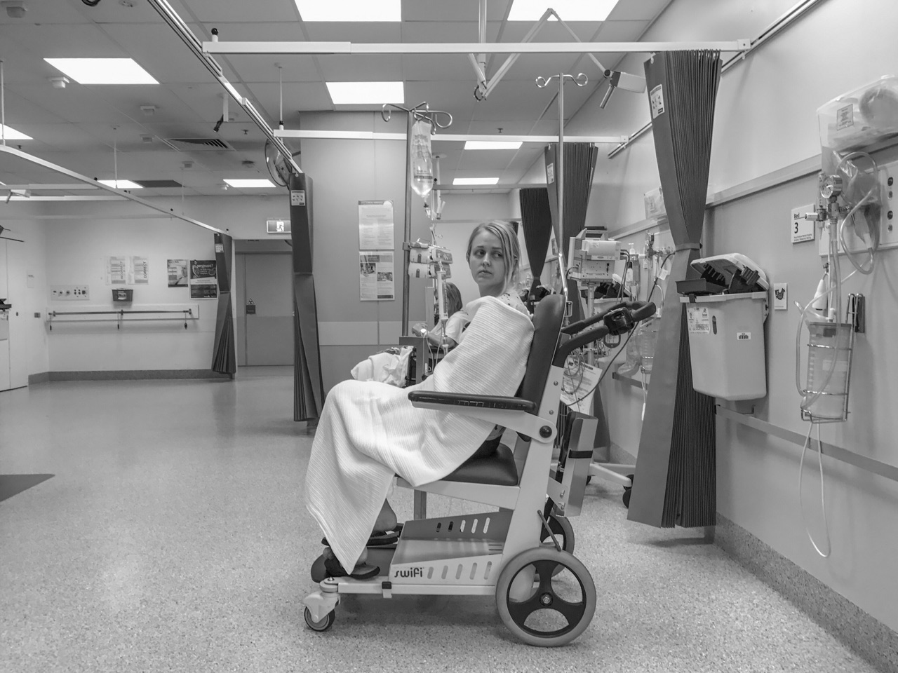 When Faye's white blood cell counts dropped, she sometimes had fevers. These can be very dangerous, so back to the hospital for tests and monitoring. This X-ray waiting room became an all too familiar site.