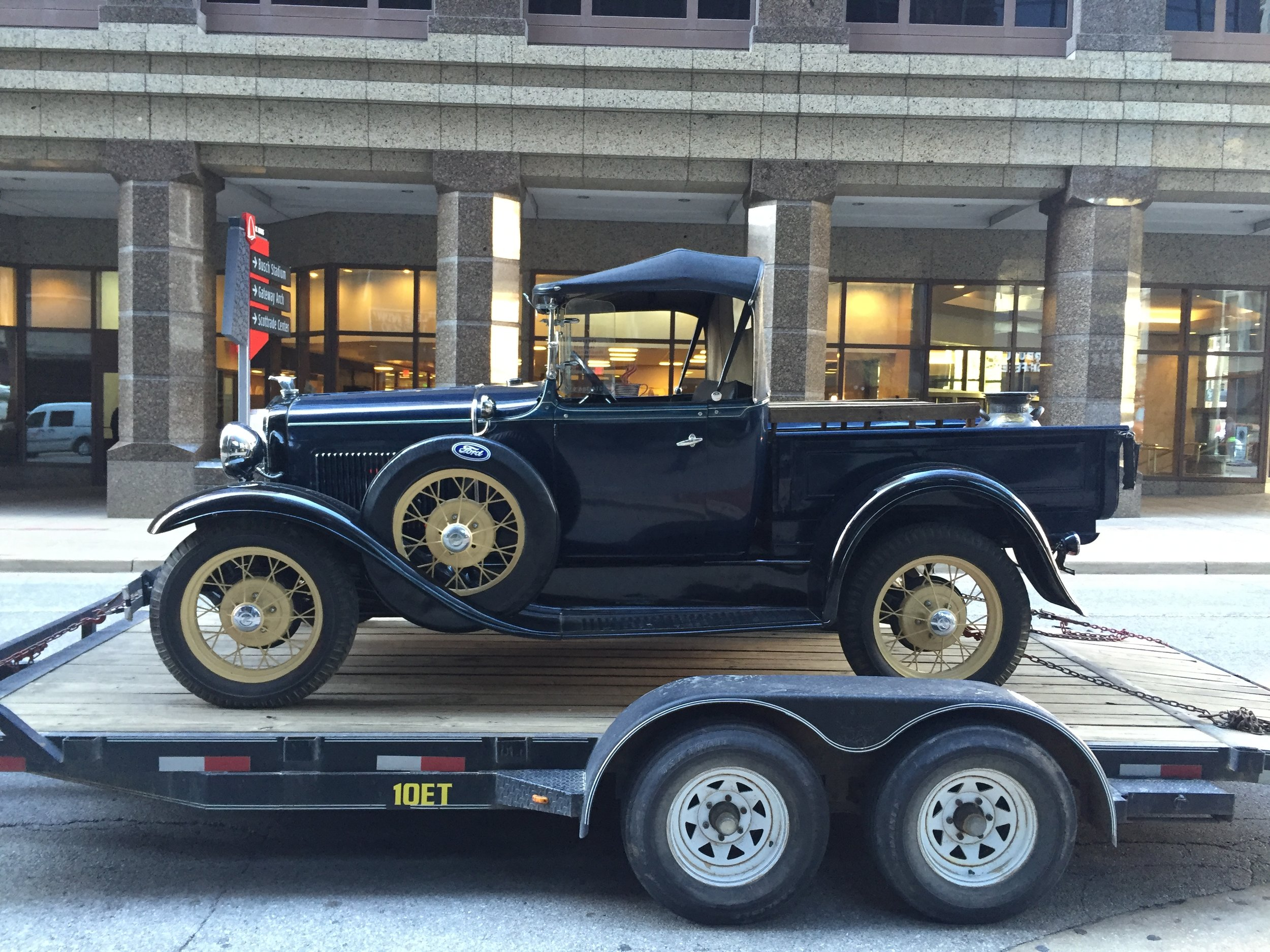 Our Model A being delivered to Downtown St. Louis
