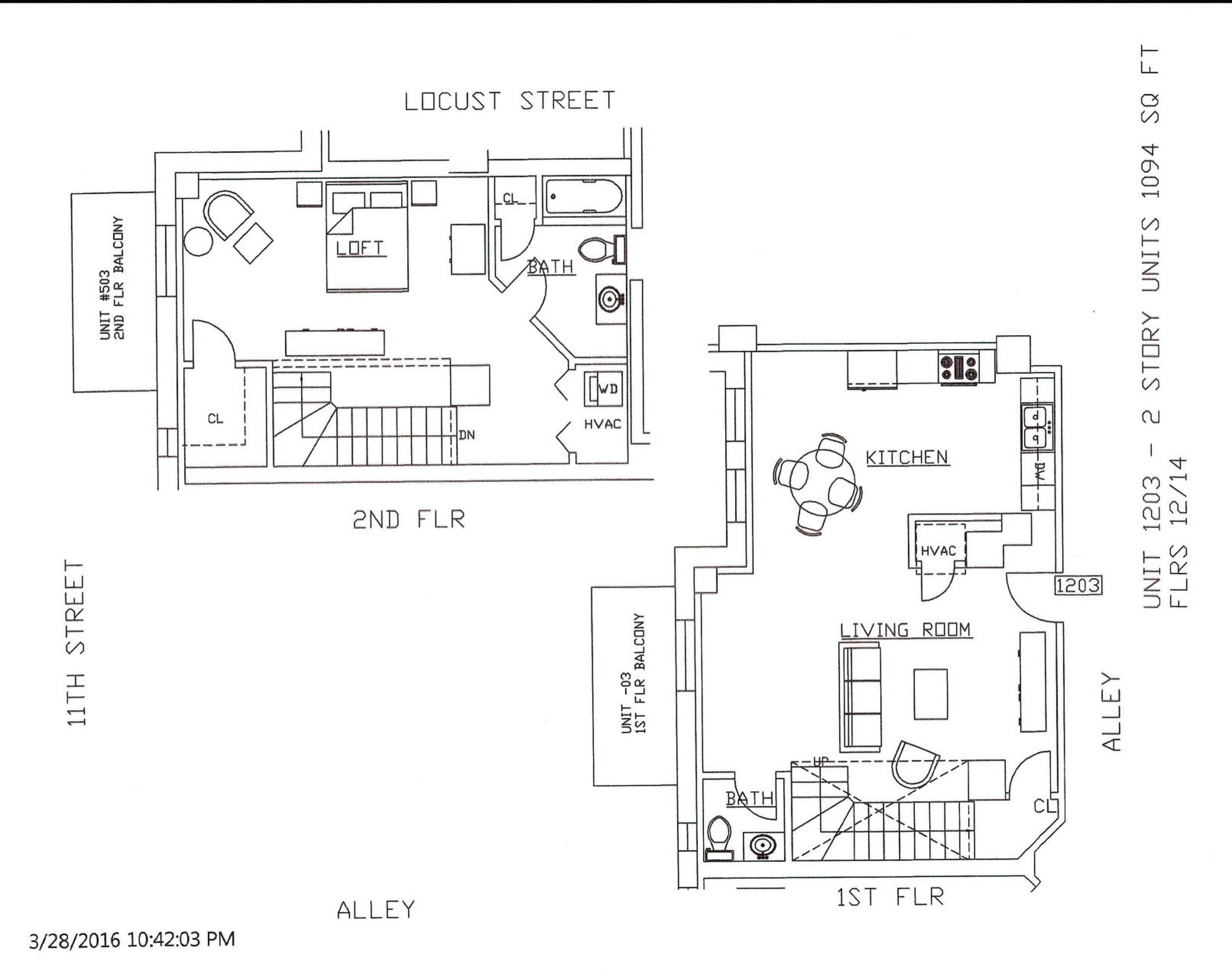 Unit 1203, 1094 Square Feet