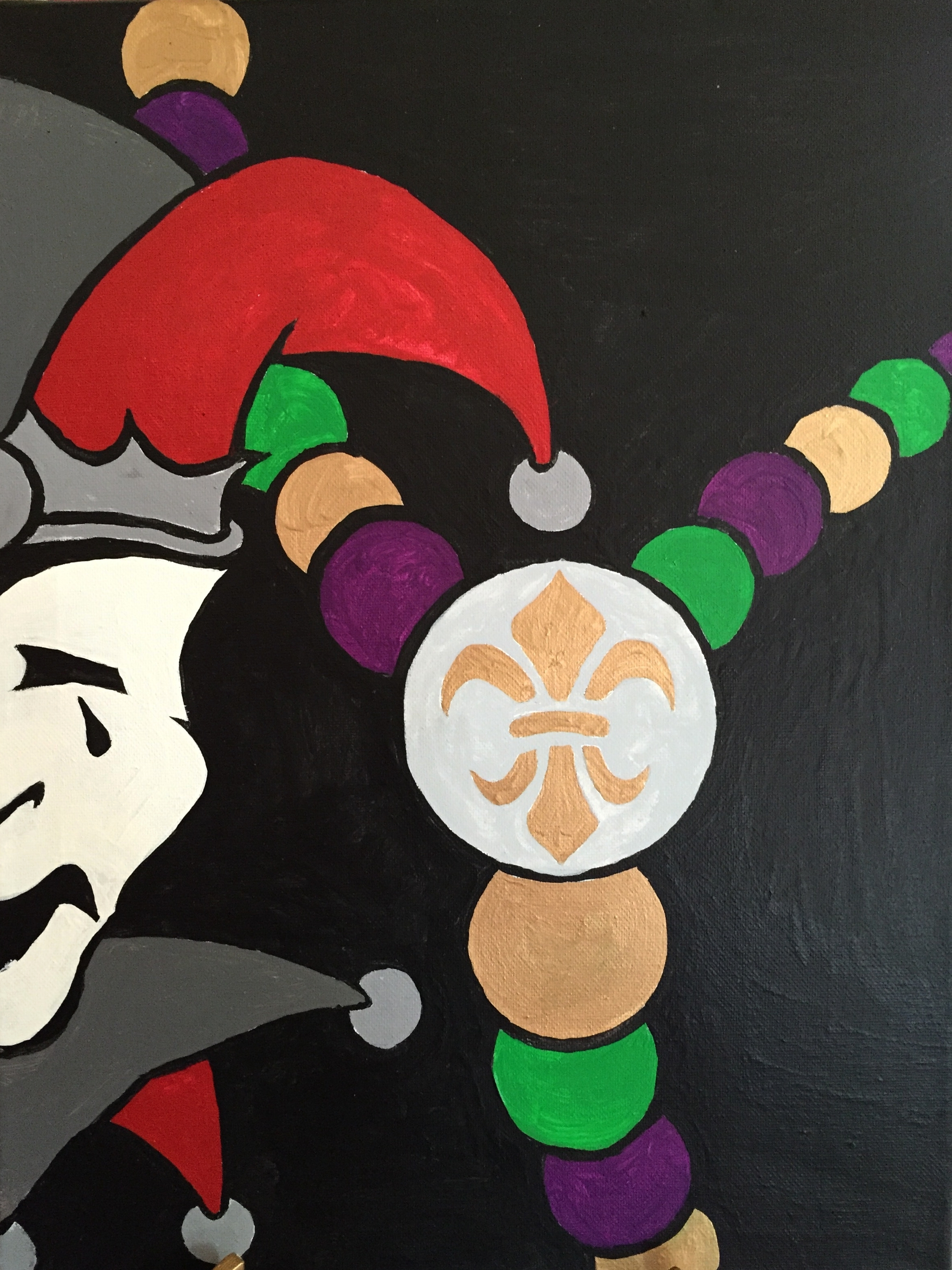 Mardi Gras Beads and Mask. Acrylic on Canvas by local artist William Angermann. Copyright William Angermann, used with permission
