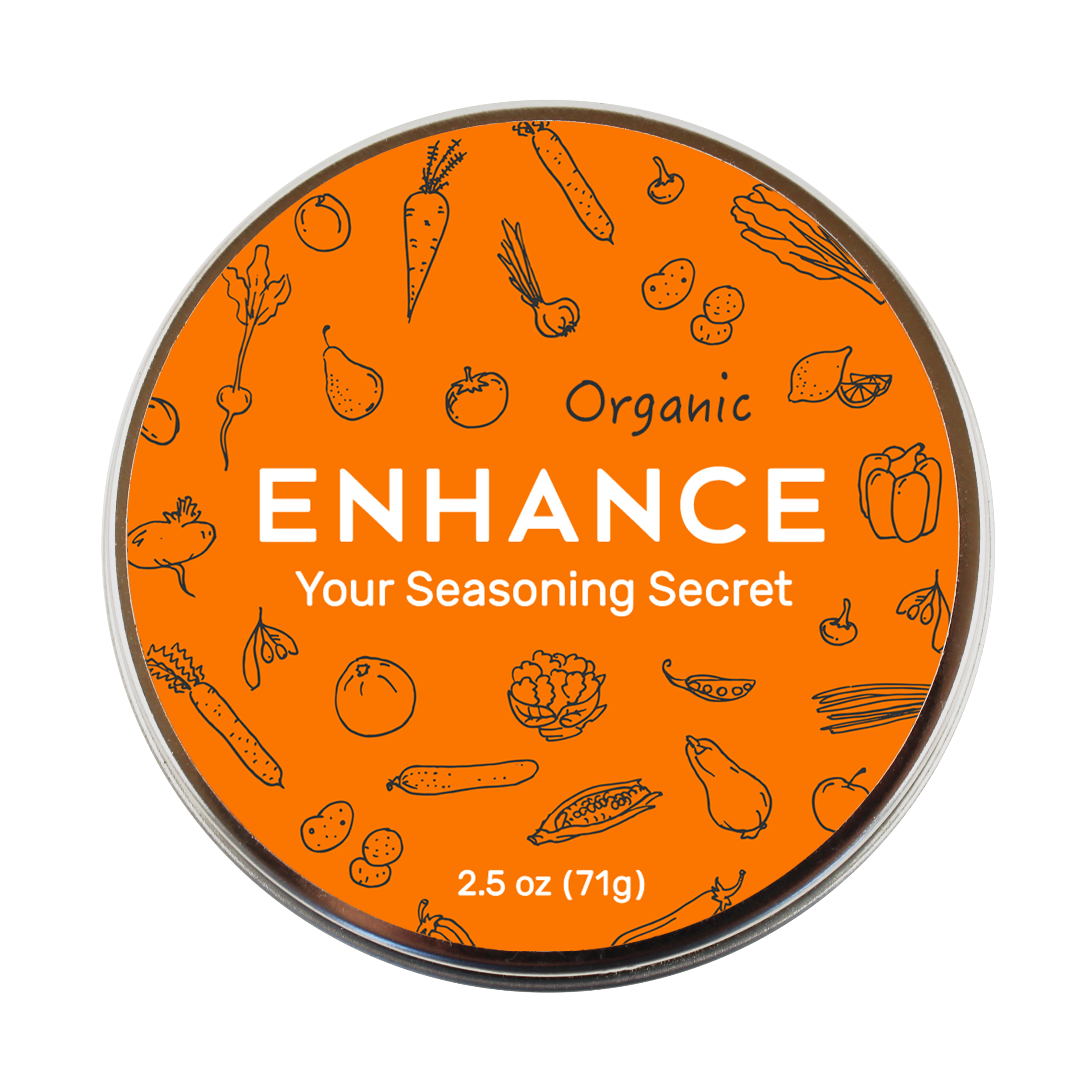 Make delicious food effortlessly. - Meet Enhance, your all-purpose white seasoning made of ultra-light crystalline salt, herbs and spices.Non-Allergenic. Kosher. Organic.