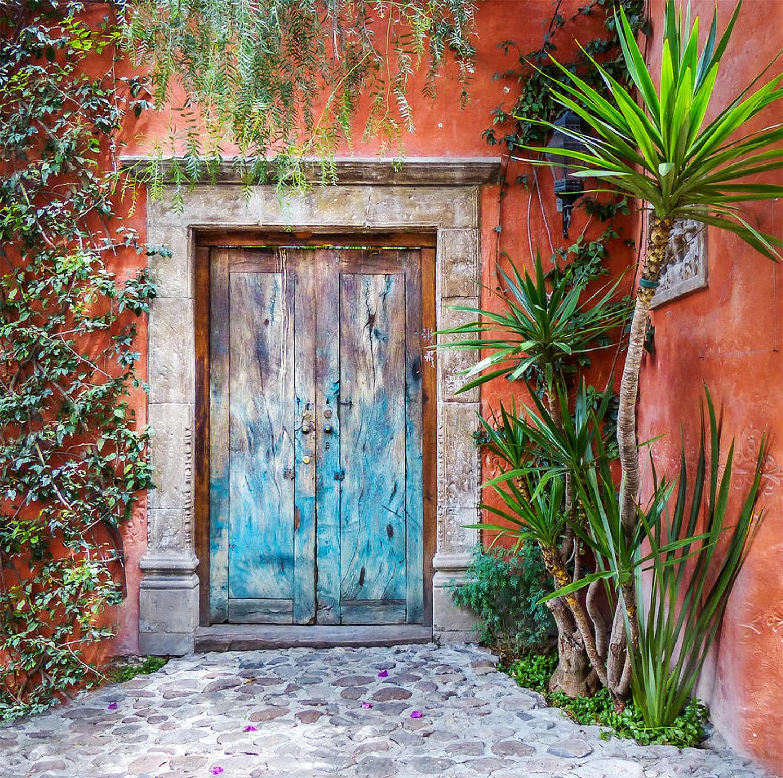 Orange Wall Blue Door