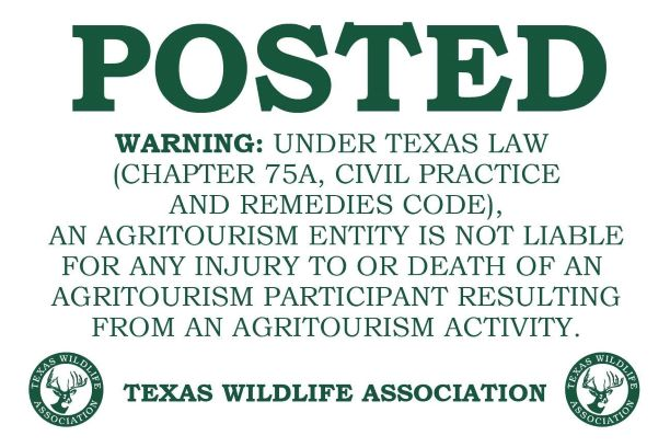 - TEXAS AGRITOURISM ACT INFO.We are a active participant in the Texas Agritourism Act.A AGRITOURISM ENTITY IS NOT LIABLE FOR ANY INJURY TO OR DEATH OF AN AGRITOURISM PARTICIPANT RESULTING FROM AN AGRITOURISM ACTIVITY.https://agrilife.org/texasaglaw/2016/02/01/texas-agritourism-act/5/10/19