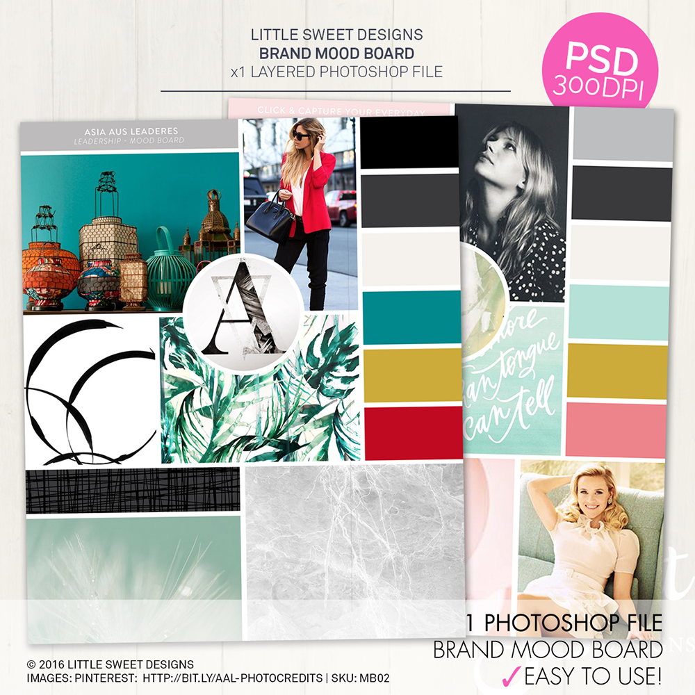 MOOD BOARD TEMPLATE .PSD (LAYERED PHOTOSHOP FILE)   A  mood board  is extremely useful for establishing the aesthetic feel of a Brand or website. Mood boards explore photography style, color palettes, typography, patterns, and the overall look, feel and vibe of your brand. A collage of colors, textures and pictures is all it takes to evoke a specific style or feeling.   Download & Create Yours Today!