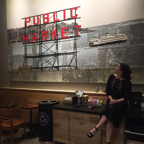 Seattle No. 45, acrylic on wood panel. 12ft x 19ft, created out of 4 3ft x 9ft panels. On permanent installation at the Seattle Starbucks on 7th, between Pike and Pine.