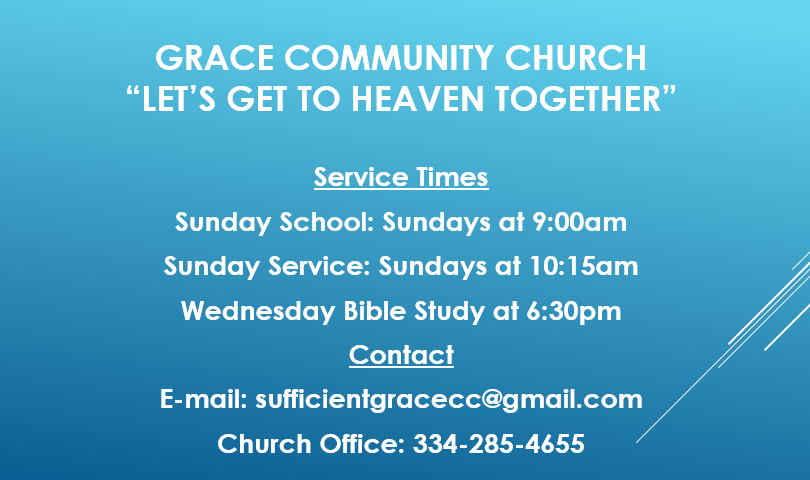 Come visit us!  We have Wednesday night Bible Study at 6:30pm, Sunday School at 9am and Sunday Worship Service at 10:15am.  We're looking forward to seeing you!