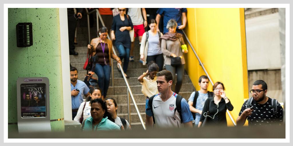 Civic Center Metrorail Station during morning rush hour.