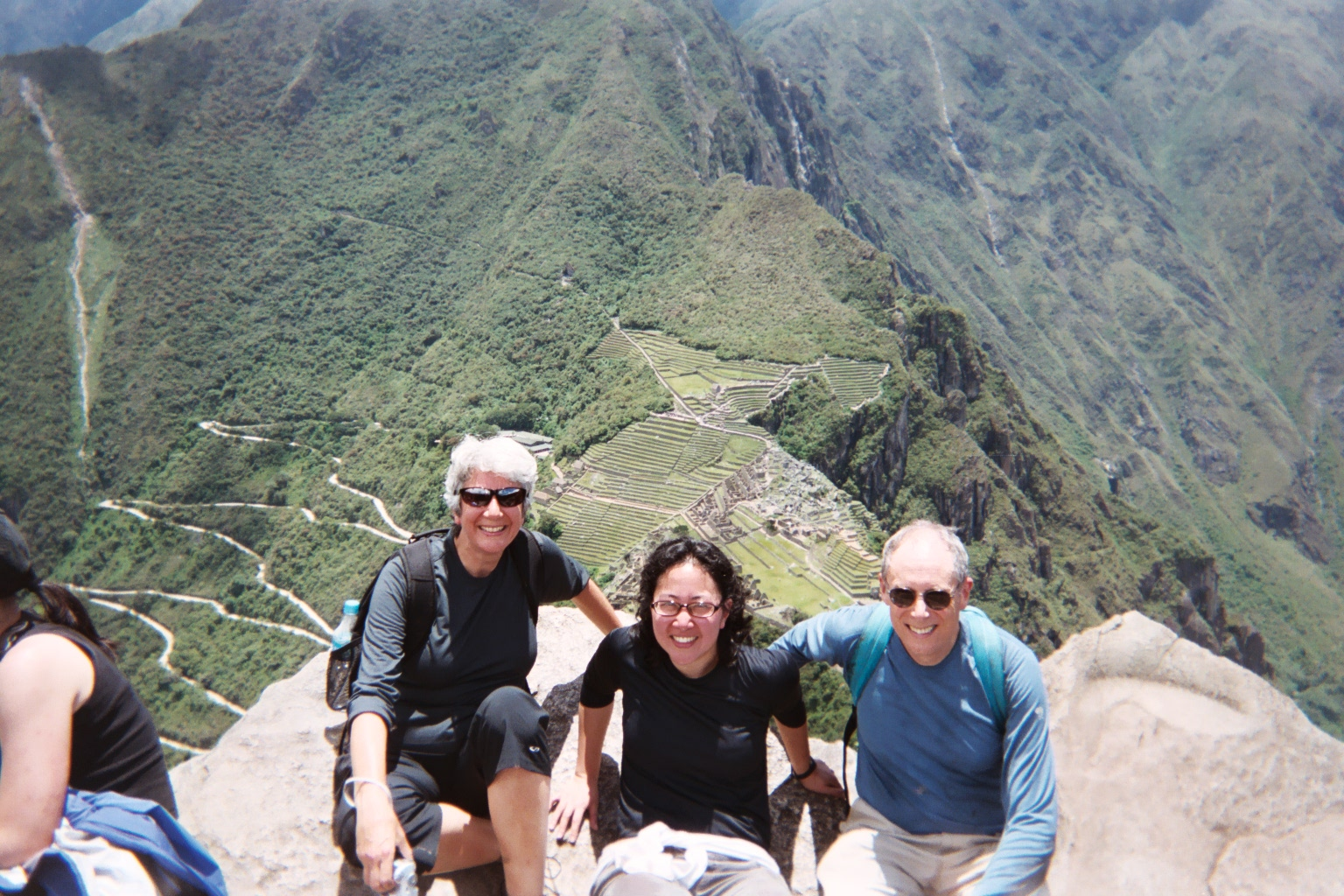top of huana picchu with terps.JPG
