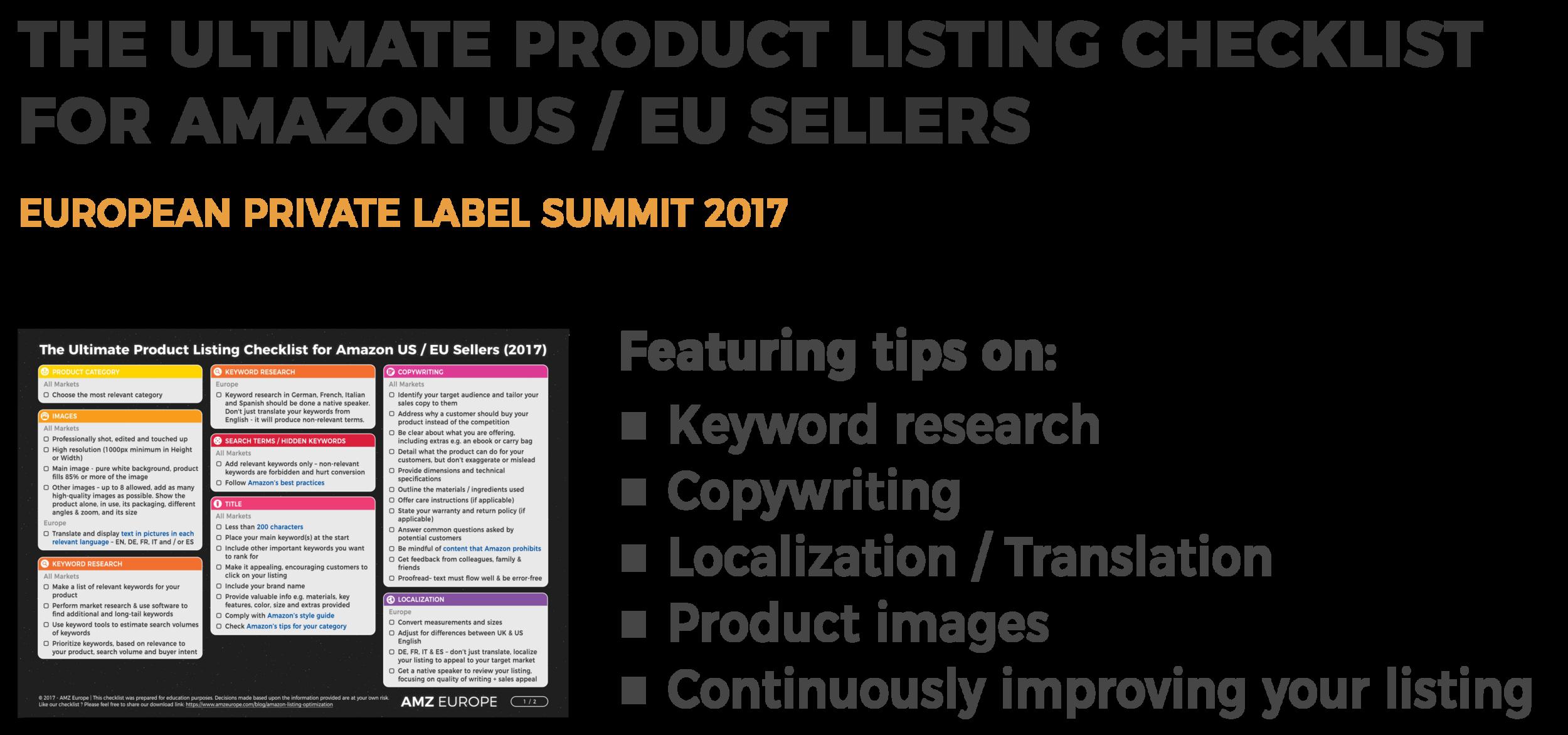 Amazon Europe Listings - Optimization Checklist - European Private Label Summit 2017
