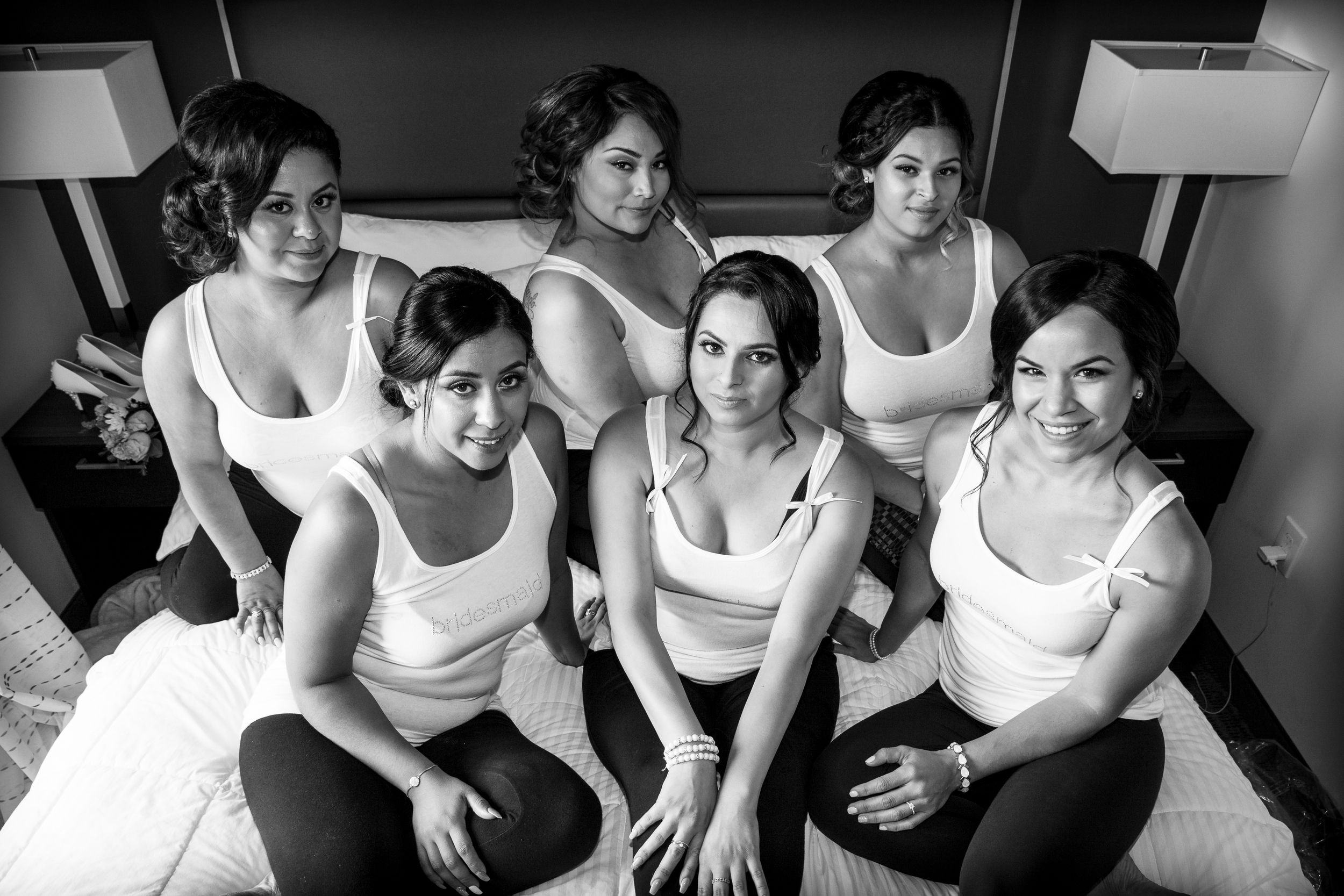 The lovely bridesmaids. Raquel, Amelia, Stephanie, Norma, Maggie, & Mayra.