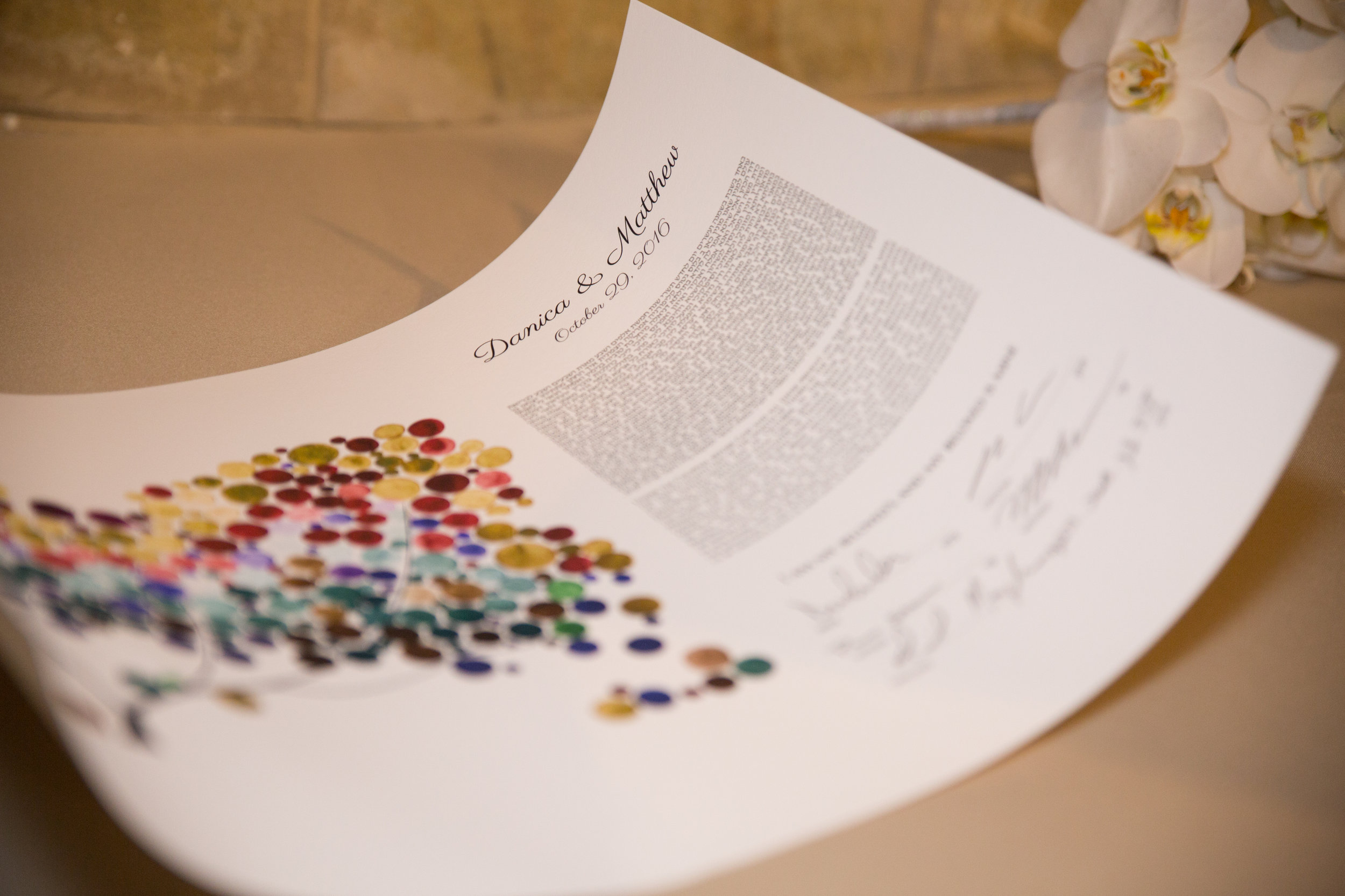 The ketubah is a traditional Jewish document which documents the rights and responsibilities of the couple in their marriage. This personalized ketubah came all the way from Romania!