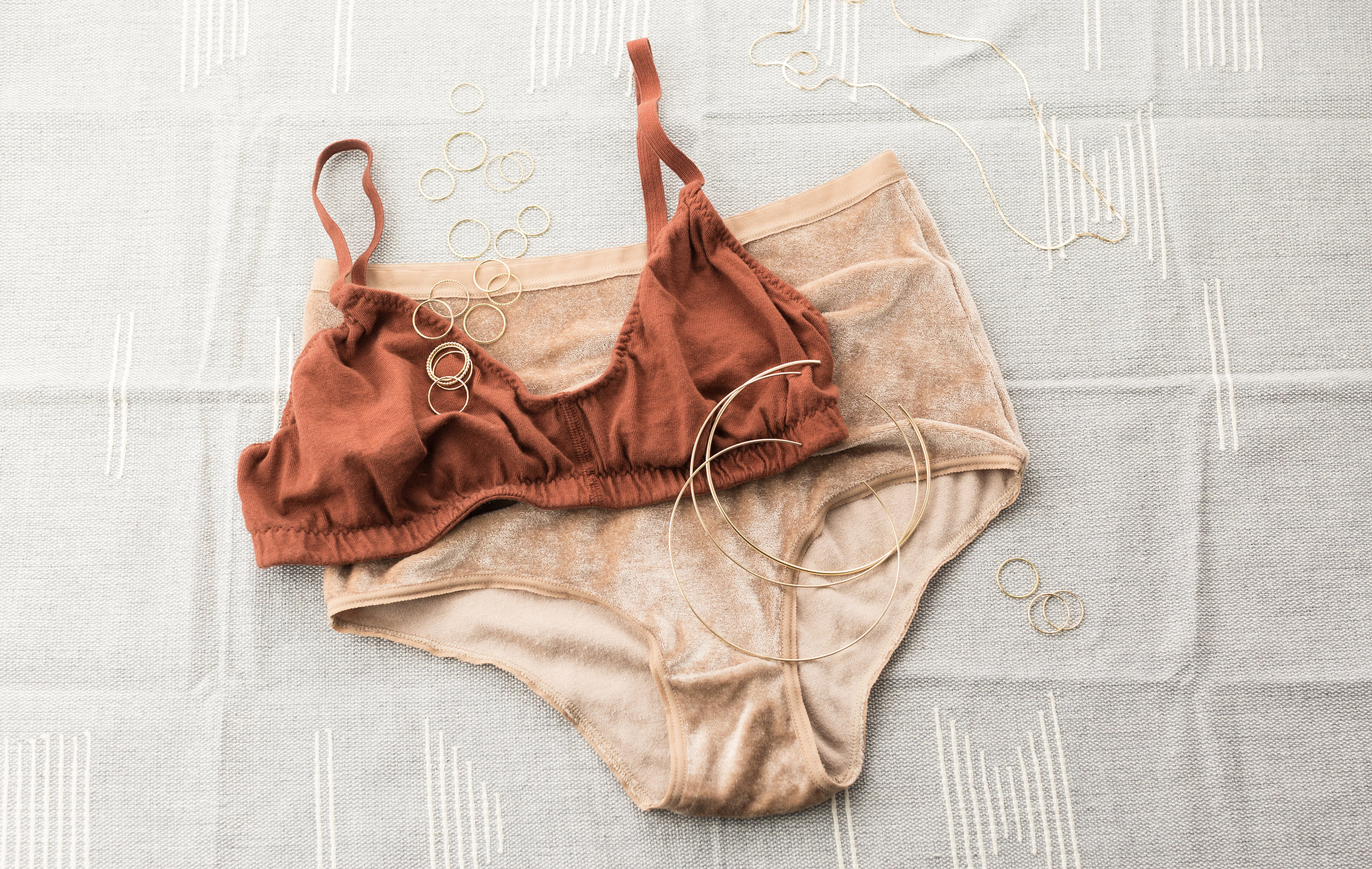 UNDIES:  Pansy Bra , Baserange  Velour Panties .  GLDN JEWELRY:  Adria  and  Aire  Stacking Rings,  Aura  and  Hala  Neck Rings, Long Chain by special request