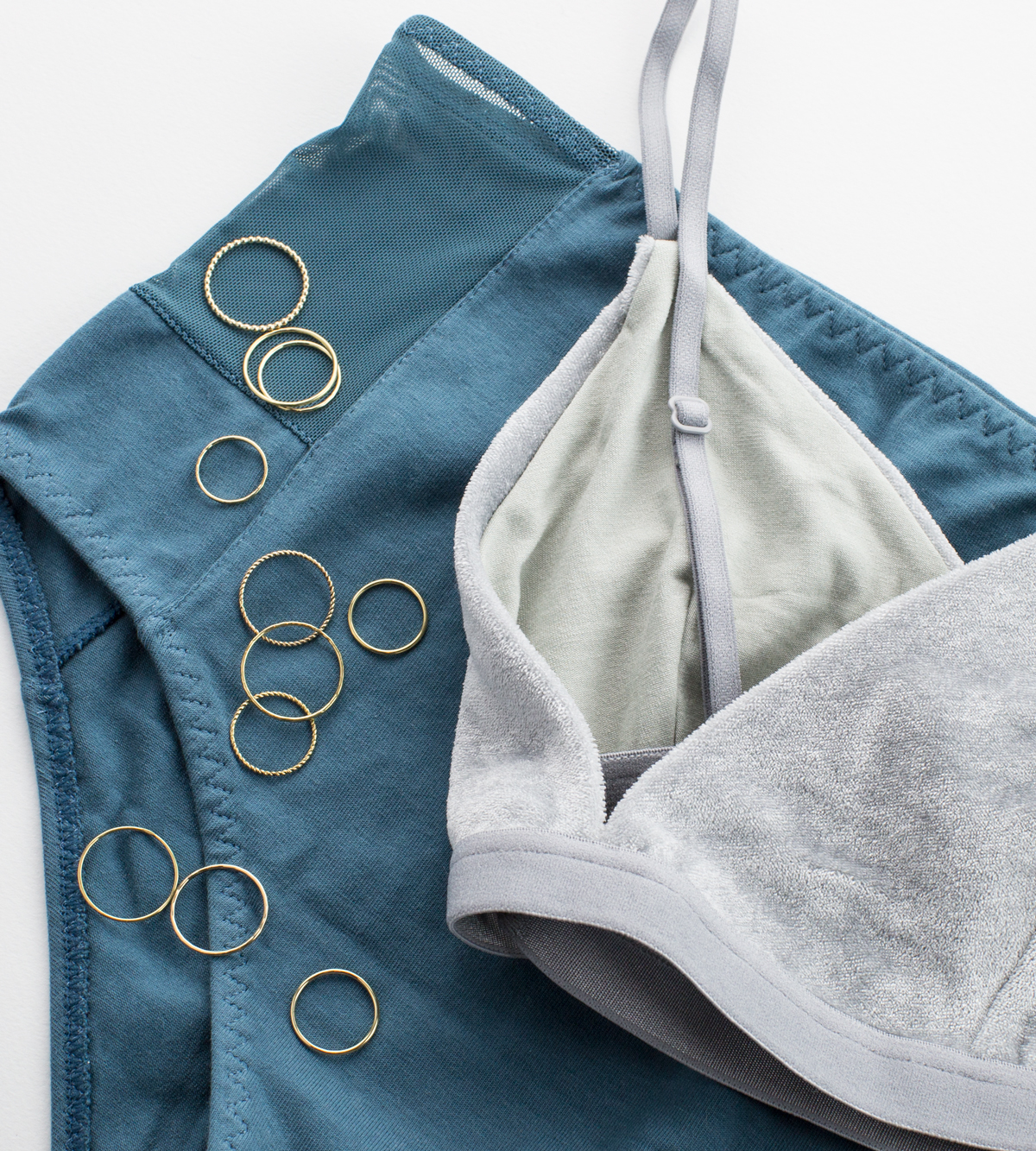 UNDIES:  The Nude Label Panties ,  Baserange Bra .  GLDN JEWELRY:  Adria  and  Aire  Dainty Stacking Bands