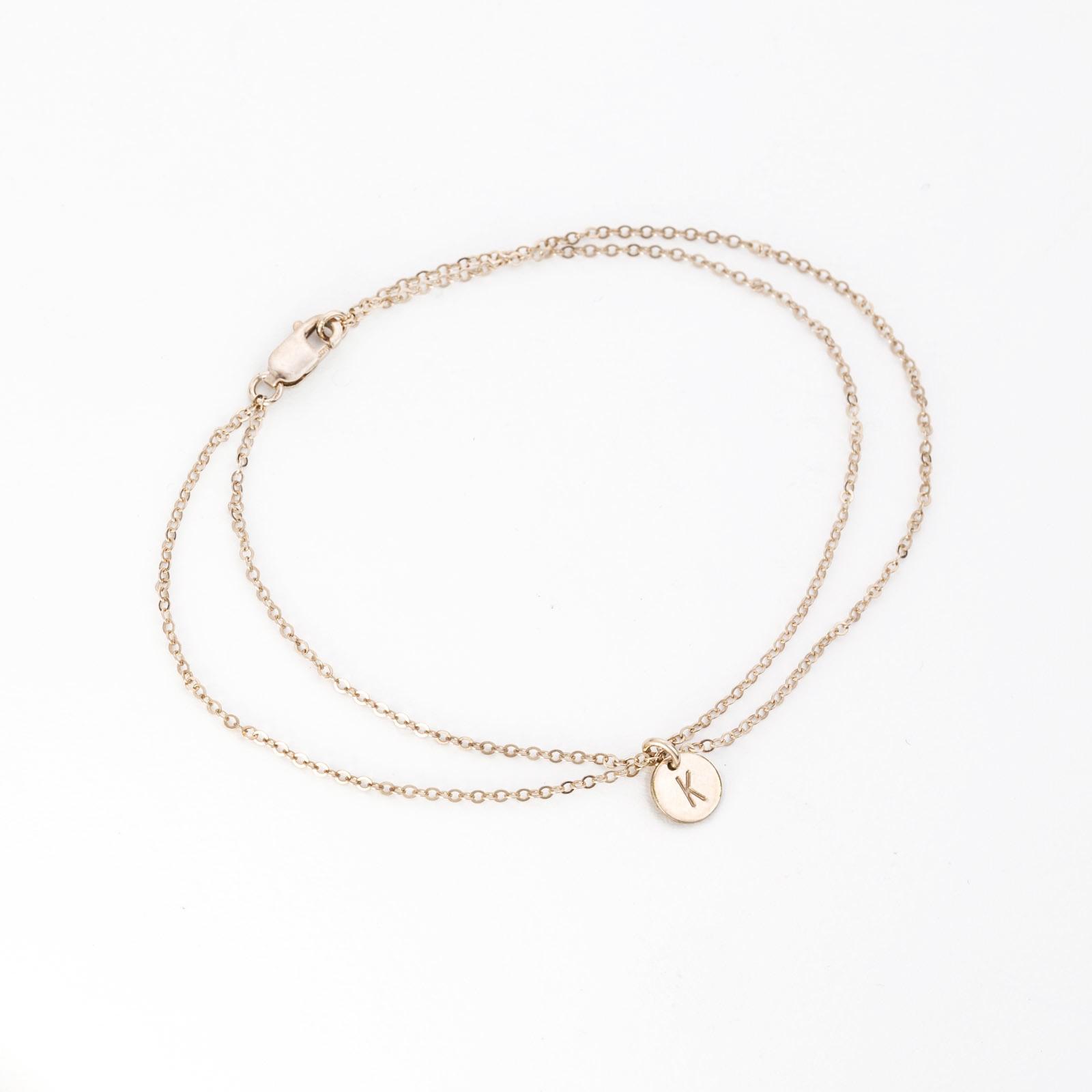 Dainty Double Wrap Initial Bracelet