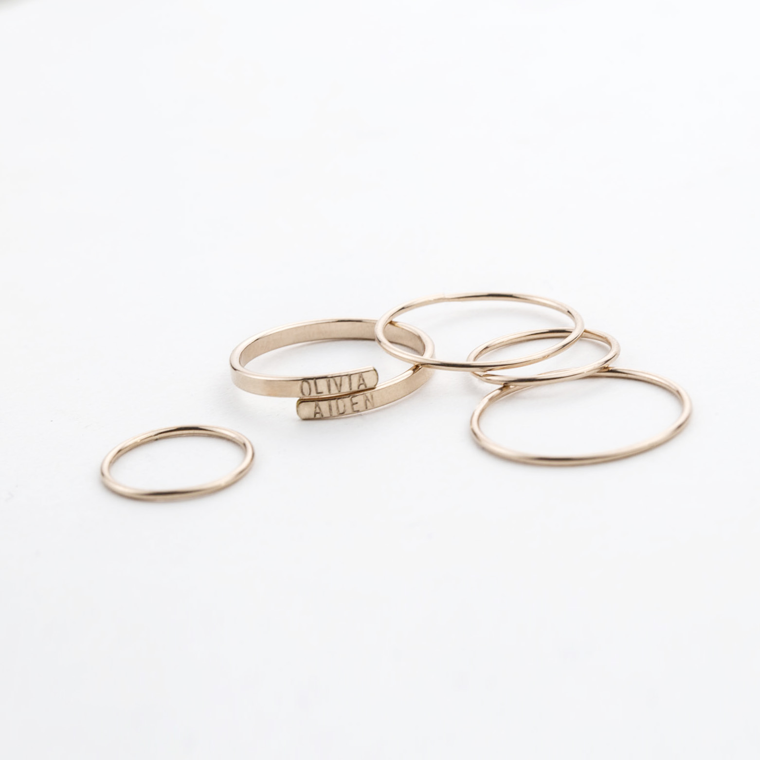 Personalized  Hug Ring , Dainty  Adria Stacking Rings