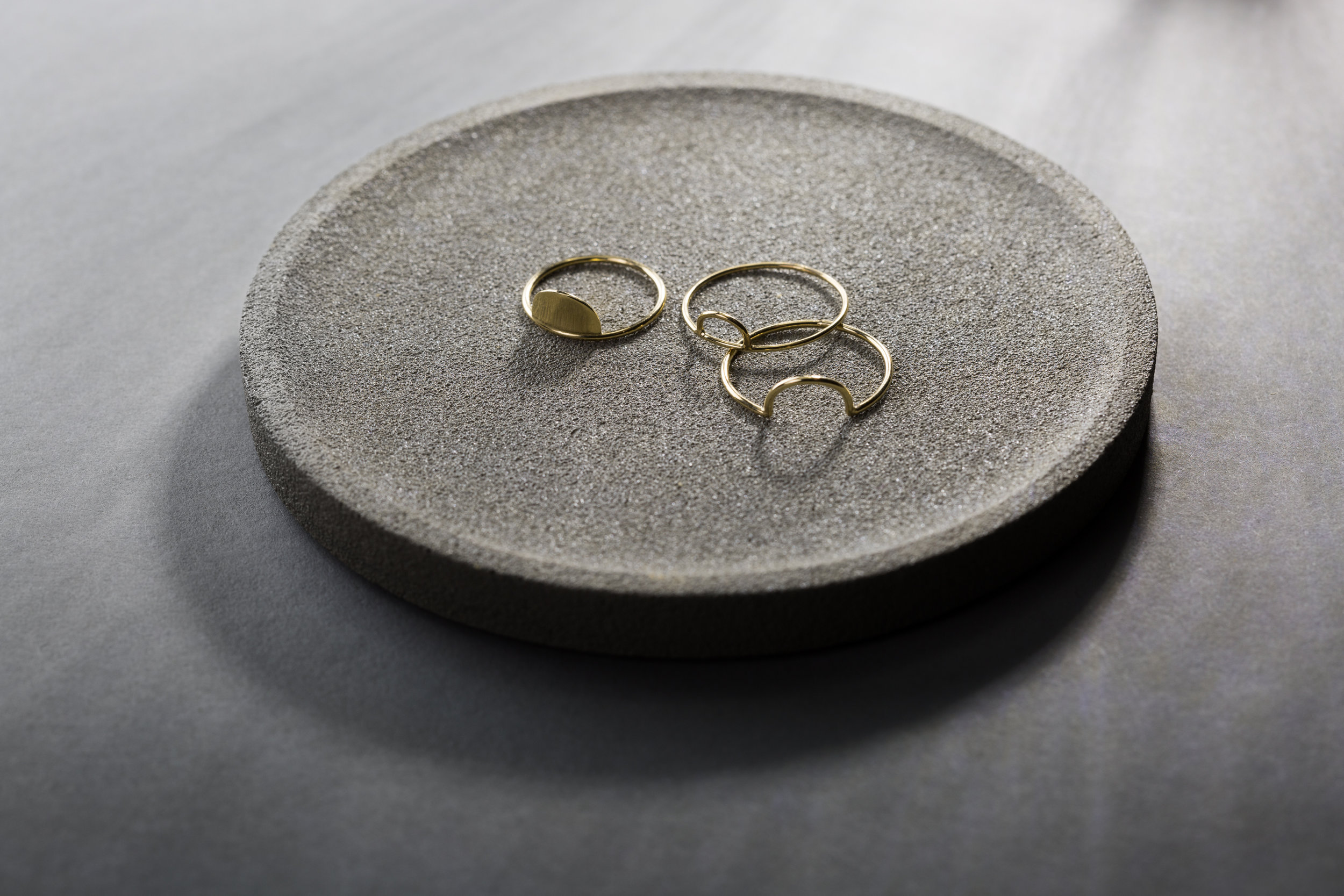LEFT:  Soleil Ring , RIGHT BACK:  Arquette Ring , RIGHT FRONT:  Ciel Ring