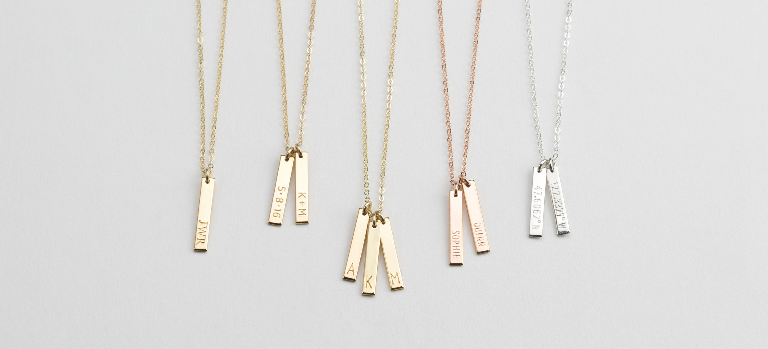 Personalized  Tiny Vertical Bar Tags Necklace