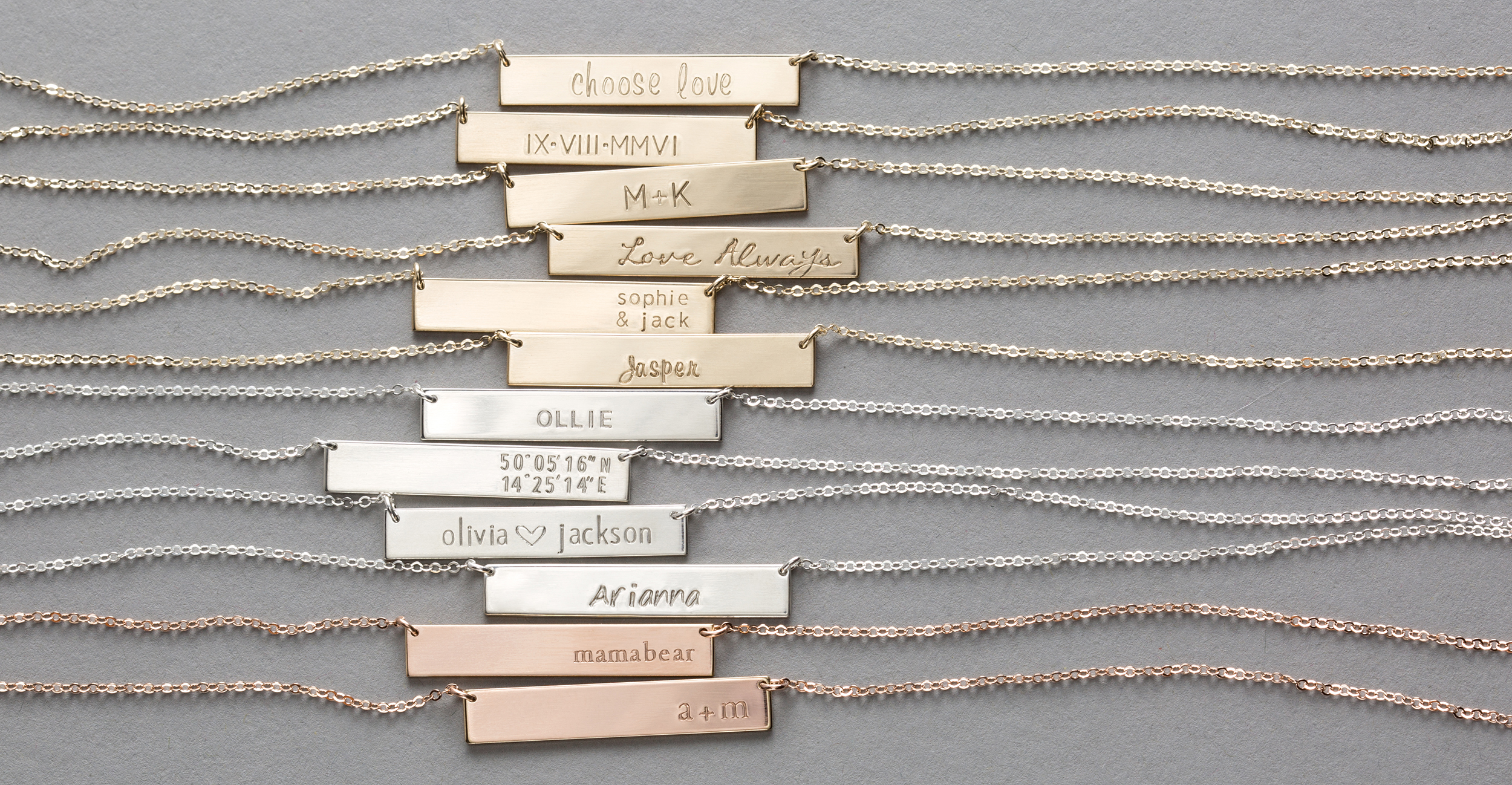Personalized Mother Necklace: The  ORIGINAL BAR NECKLACE .