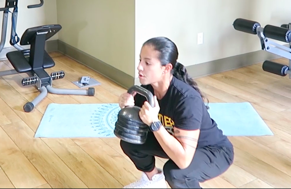 in home workout kettlebell squat