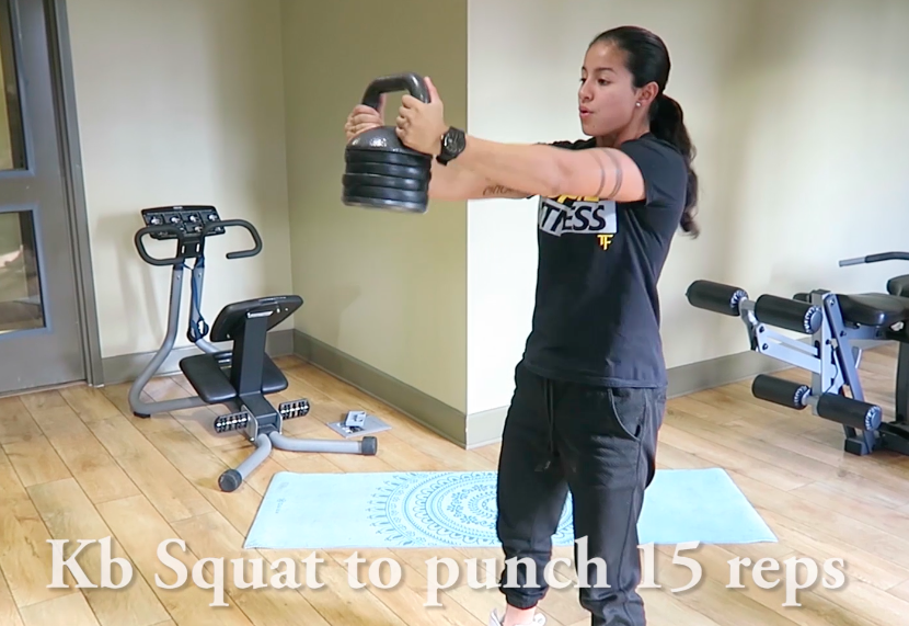 kettlebell squat to punch in home workout