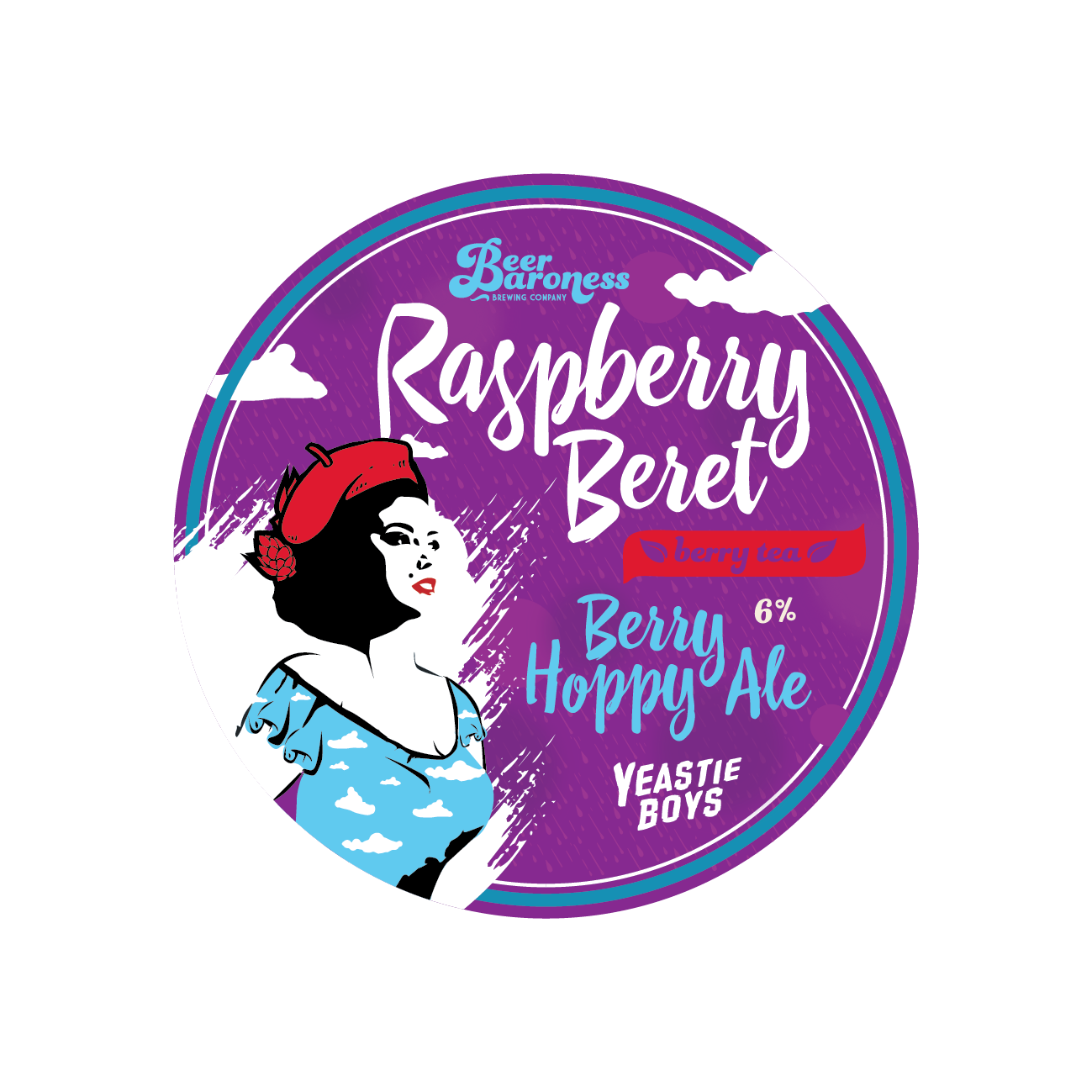 DD002982 Beer Baroness Raspberry Beret Tap Badge Supply - Cropped.png