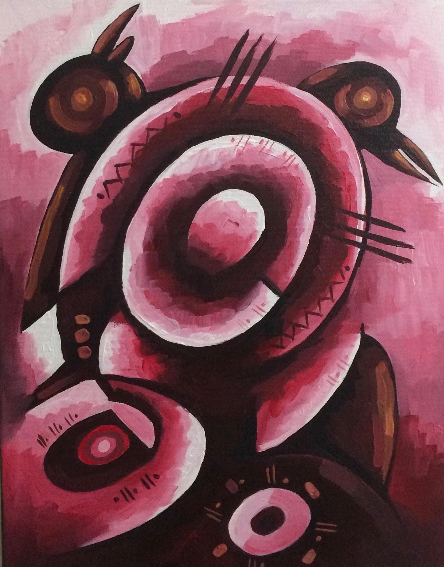Keita Kwame Kankam,  Busy Birds I, 14 x 18 inches, Acrylic on canvas