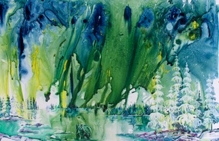 "Karen Bishop,  …and peace descends on the land,  26x40"", Watercolour on Yupo"
