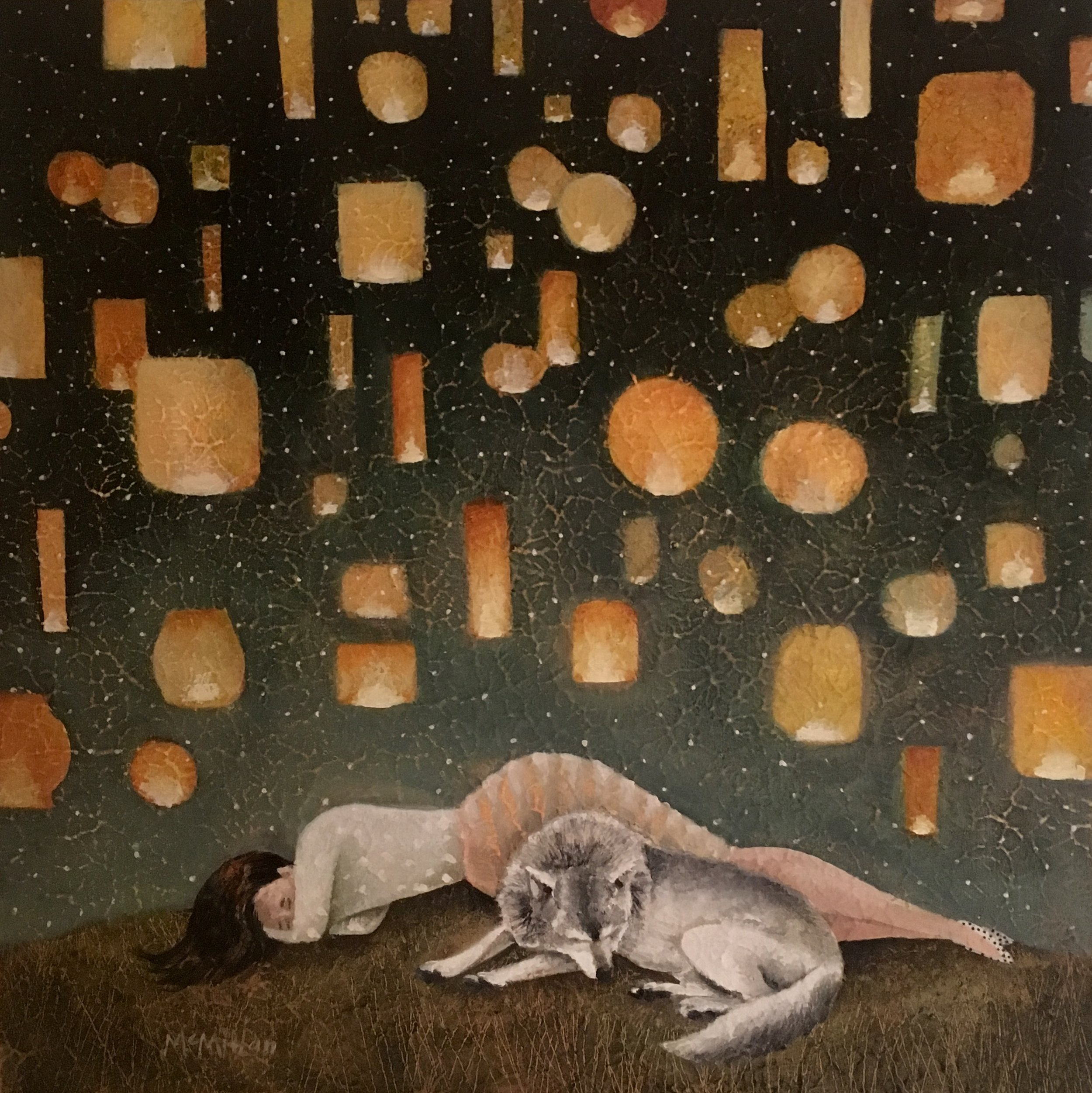 "Catherine McMillan, Paper Lantern Dream, Acrylic and Oil on Wood panel, 18""x18"""