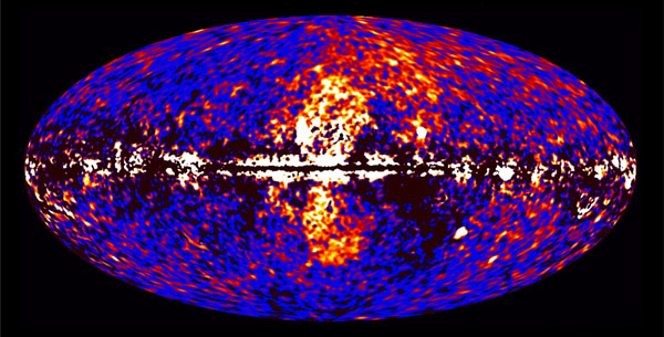 The Fermi Bubbles revealed by the FERMI gamma ray satellite in 2010. The Bubbles stretch above and below the plane of the galaxy, with a total extent of 16 kiloparsecs (~40,000 ly) from North to South. From kavlifoundation.org