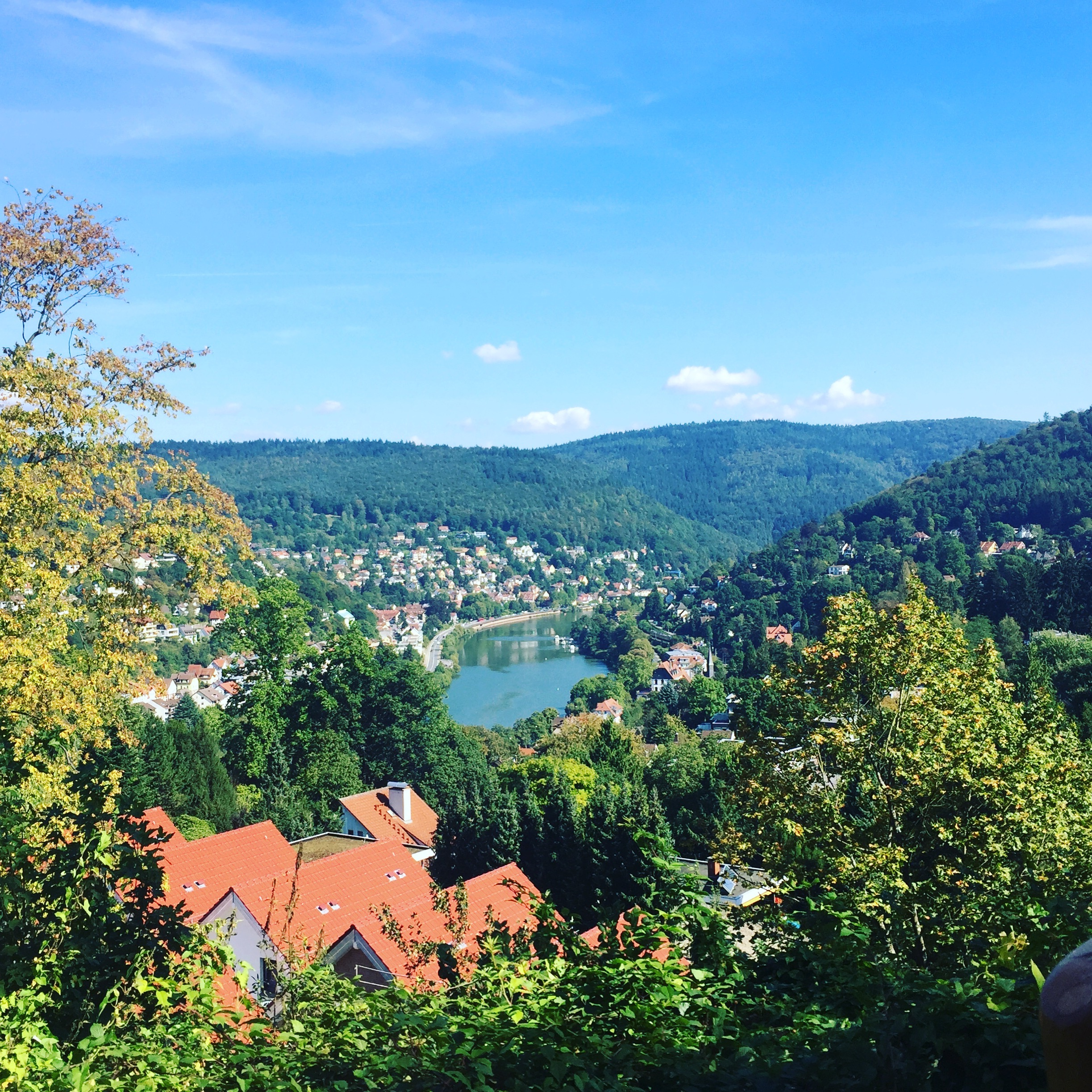 Heidelberg and the Neckar River in September, taken from Heidelberg Institute for Theoretical Studies, Schloss-Wolfsbrunnenweg