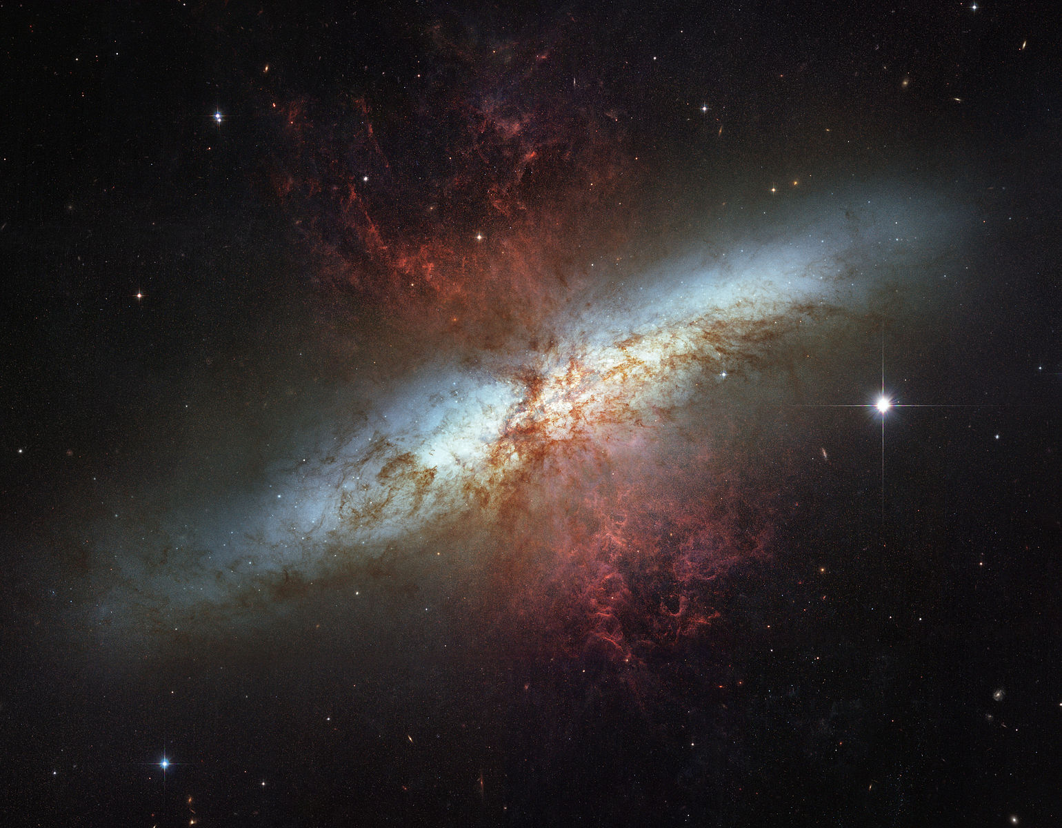 M82 is a prototypical starburst galaxy. Dust and gas is launched out of the central 500 parsecs (1500 light years) of the galaxy by the explosions of numerous core-collapse supernovae. From Wikipedia. M82 was also the host of the Type Ia supernova SN2014J, one of my favorite supernovae to argue over (see my previous blog post, a retrospective of IAUS322)