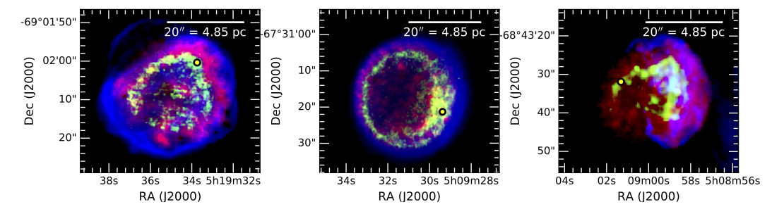 The three supernova remnants studied by Dr Seitenzahl and his colleagues in  this paper . Blue represents interstellar gas (hydrogen) heated by the outgoing shockwave, red the x-rays emitted by iron heated by the ingoing reverse shock, and in green the [Fe XIV] emission from the same iron-rich ejecta, observed using the MUSE instrument. This is the first time optical [Fe XIV] emission assoicated with the reverse shock in a Type Ia supernova remnant has been observed