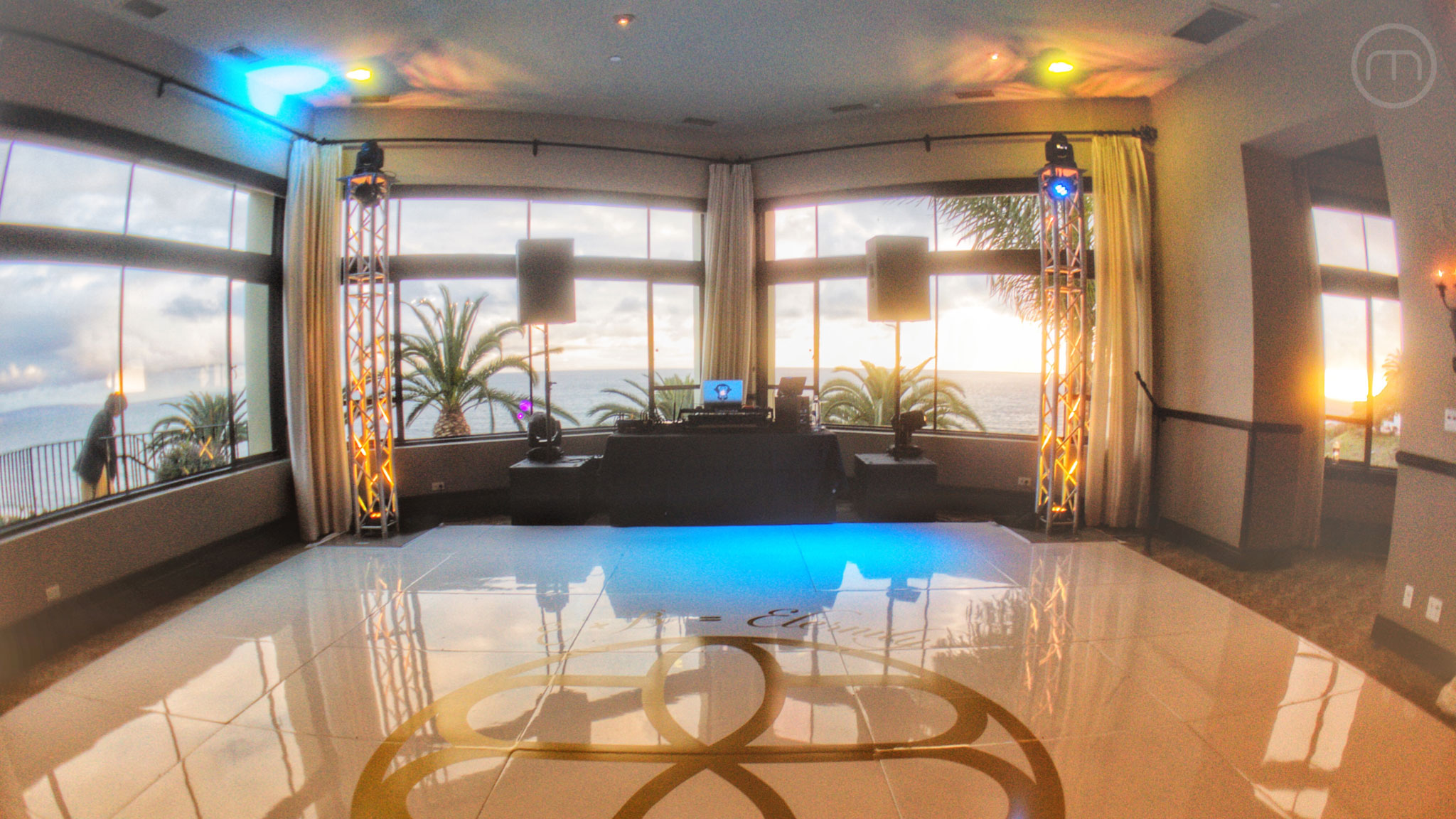 Bel-Air Bay Club DJ Setup White Dance Floor Wedding