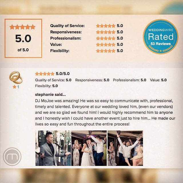 ⭐️⭐️⭐️⭐️⭐️ Thanks so much @scullysculls & @edcharsh for this 5-star review and having me as your DJ! Let's have another party lol! 🎉🙌 | July 15, 2018 #happyclienthappydj #weddinghighlights #losangelesweddings 📋: @3littlebirdseventplanning 📸: @jenniferlourie 📹: @markcruz17 💒: @calamigosranch