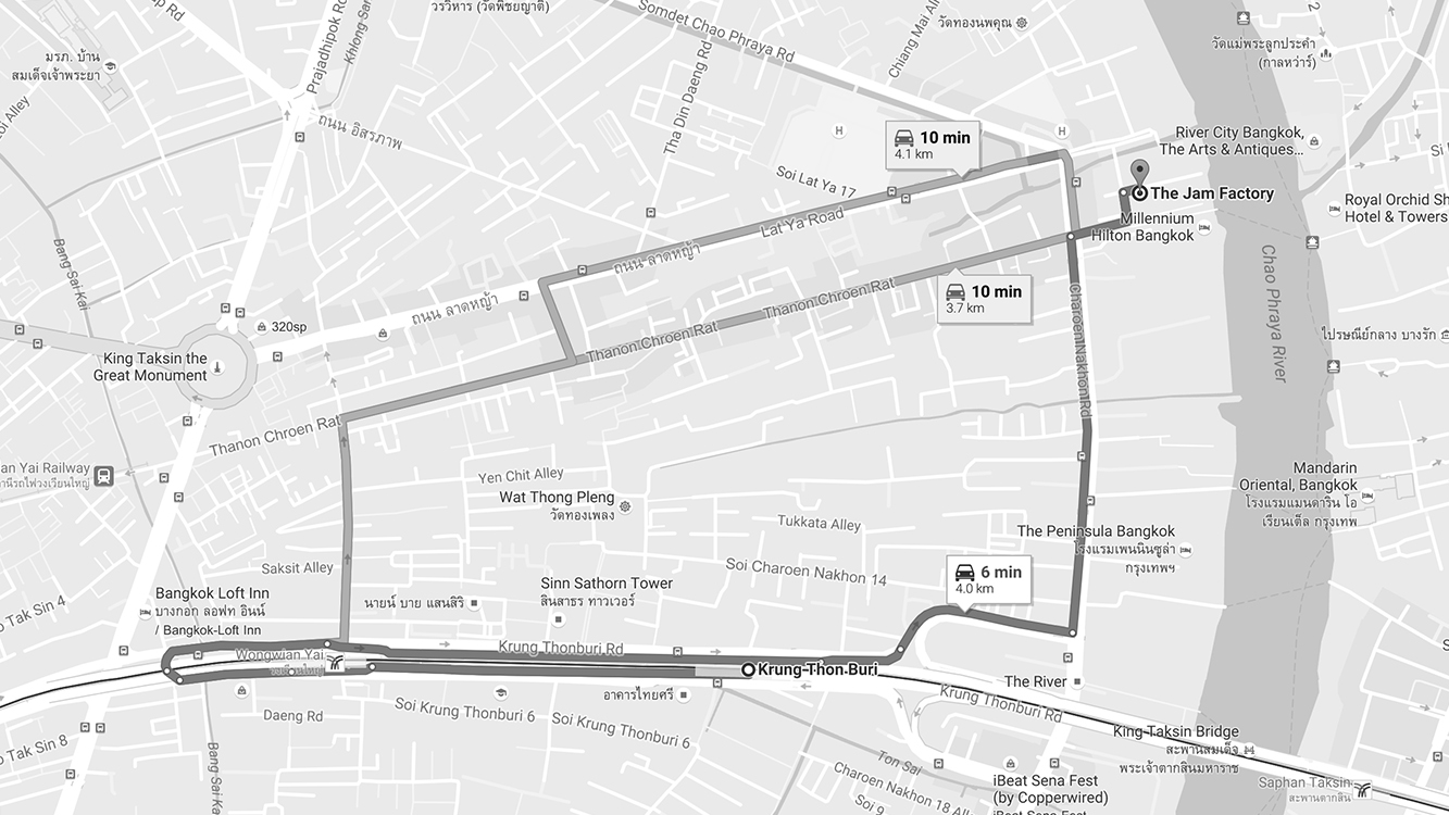 Giờ mở cửa: 10:00 - 22:00 Địa chỉ: 41/1-5 Charoennakorn Rd, Khlong San, Bangkok