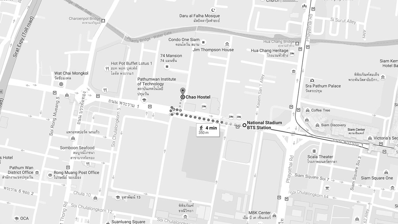 Địa chỉ: Tầng 8,Siam@Siam building, 865 Rama I Rd, Bangkok Giá: 600baht/người/đêm cho giường tầng, từ 1500baht/đêm cho phòng đôi