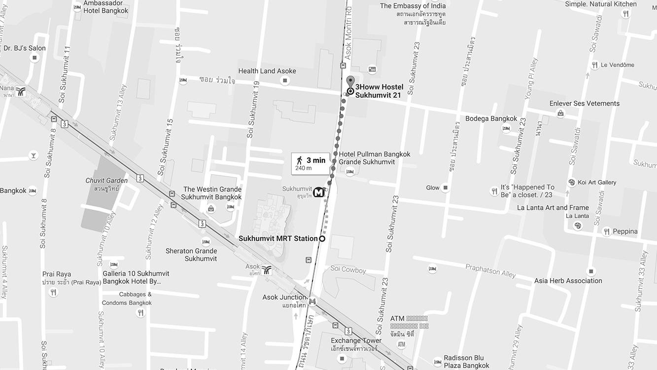 Địa chỉ: 32/9 Soi Sukhumvit 21, Bangkok Giá: 400baht/người/đêm cho giường tầng, 1500baht/đêm cho phòng đôi