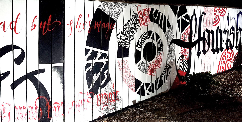 Kate Hursthouse Mural // Flourish // White Night Auckland, New Zealand