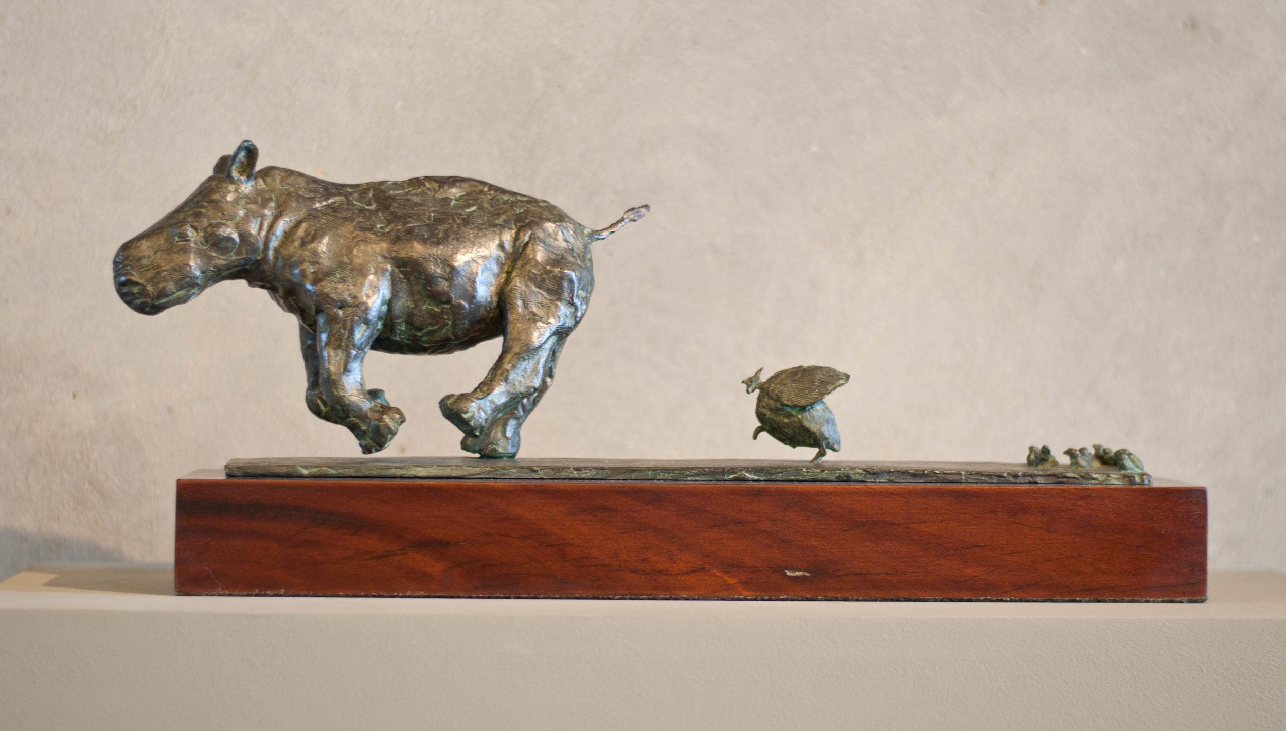 Guinea fowl chasing Rhino Orphan R27 950.jpg