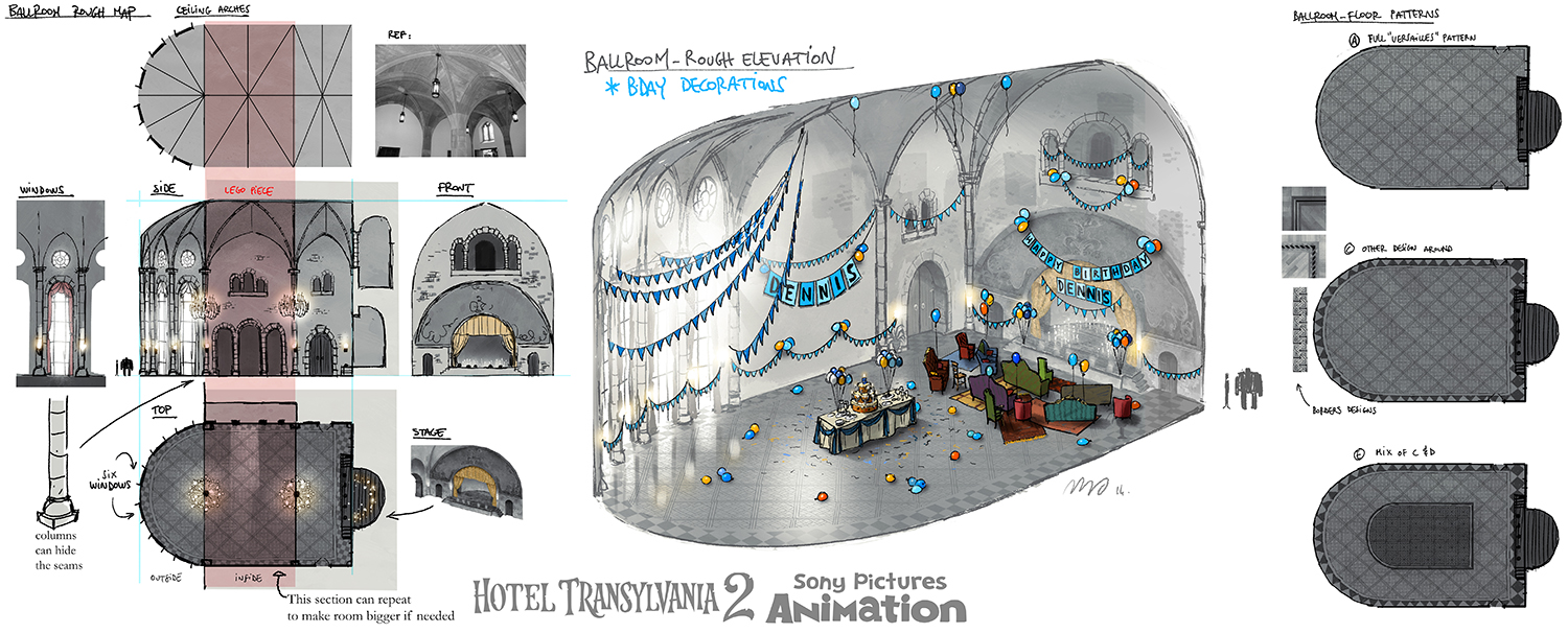 A new ballroom was to be designed for a birthday party but the sequence was cut.