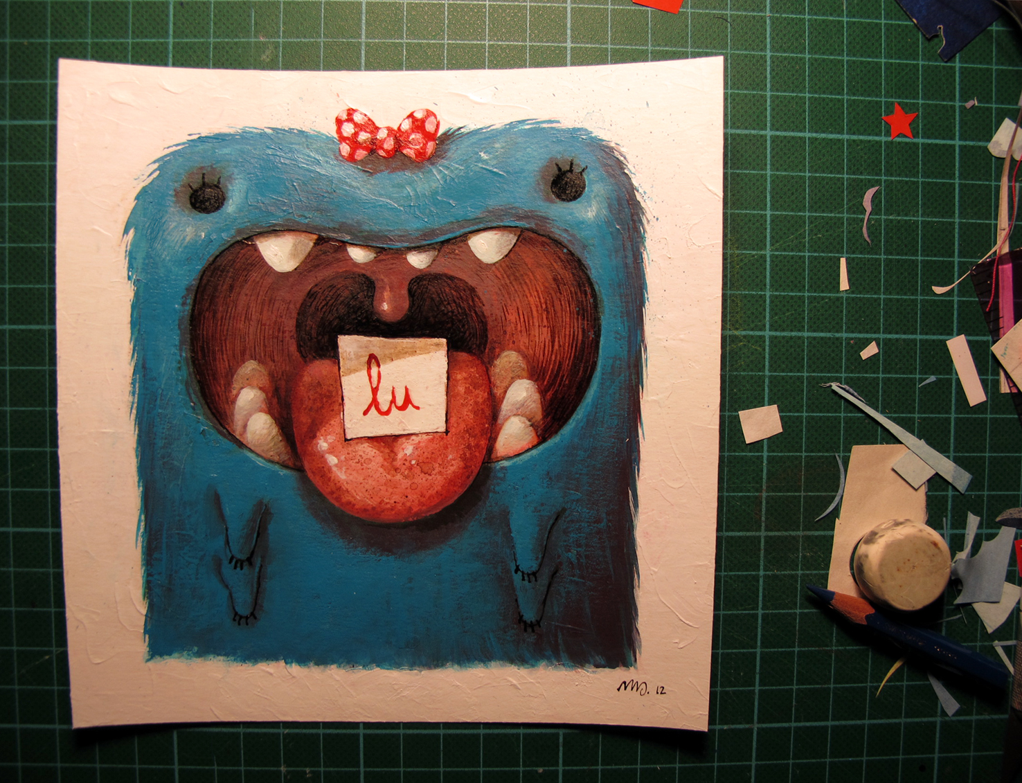 Illustration for a friend's kid that became my 2013 New year card. Acrylic on paper. 2012.