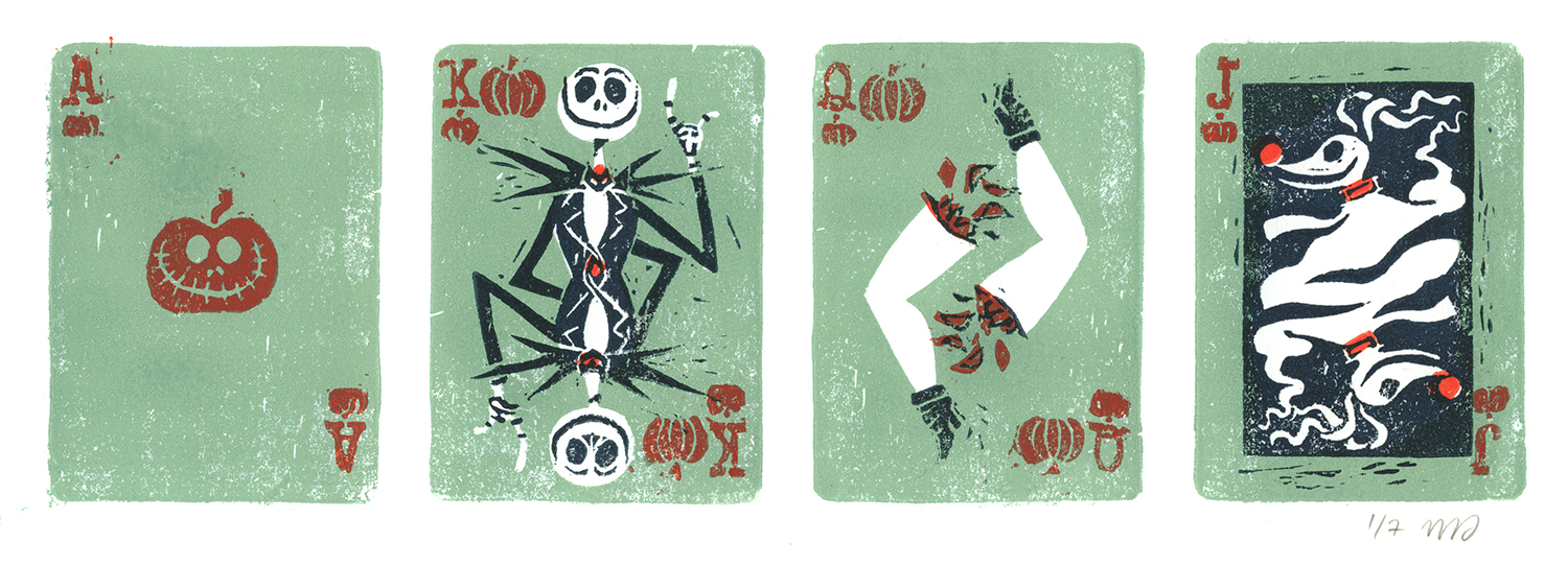 """Illustration for the tribute to Tim Burton's """"The nightmare before christmas"""", organized by Arludik in 2012. Linocut print."""