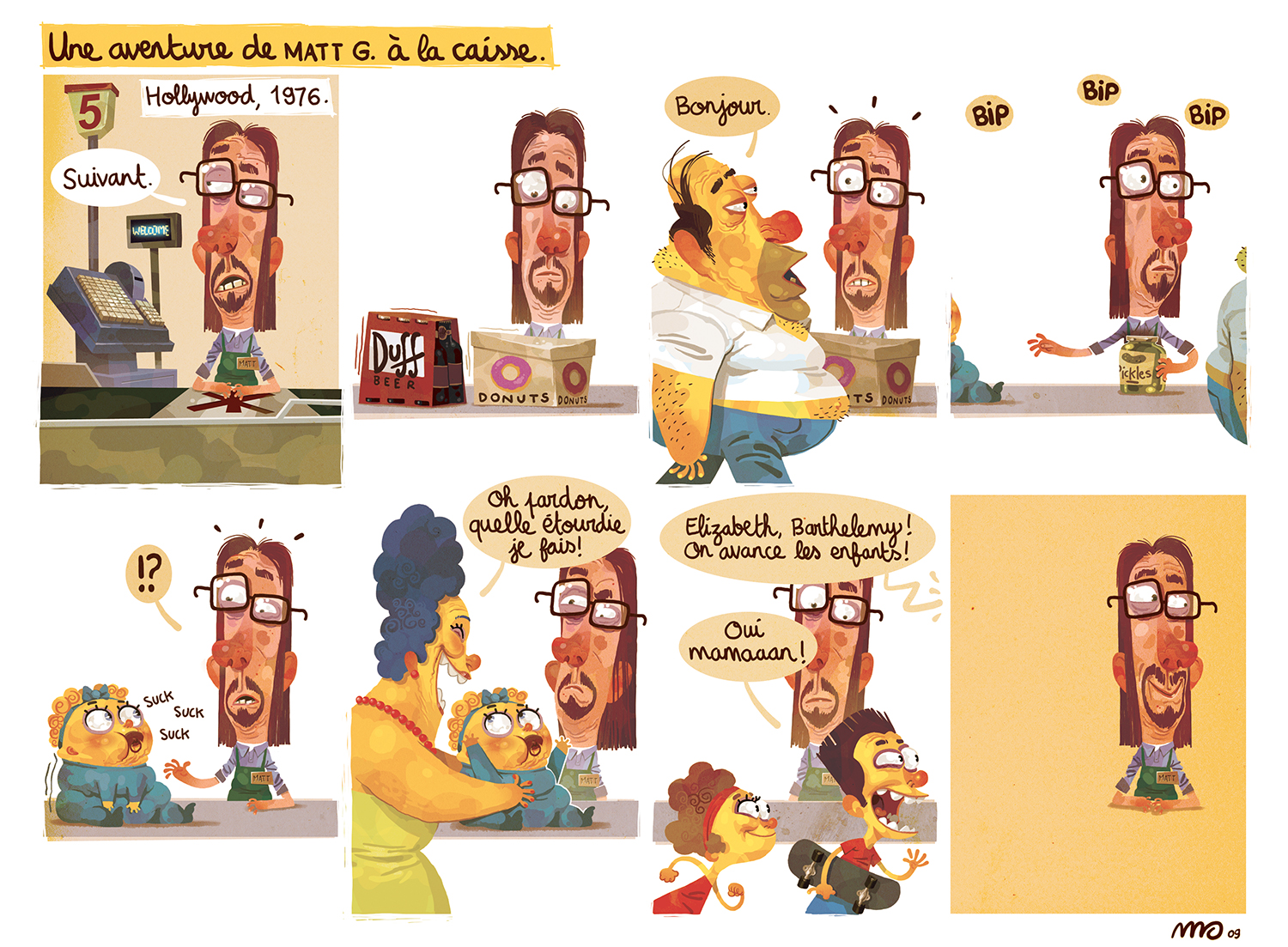 Strip for a tribute to the Simpsons. 2009.