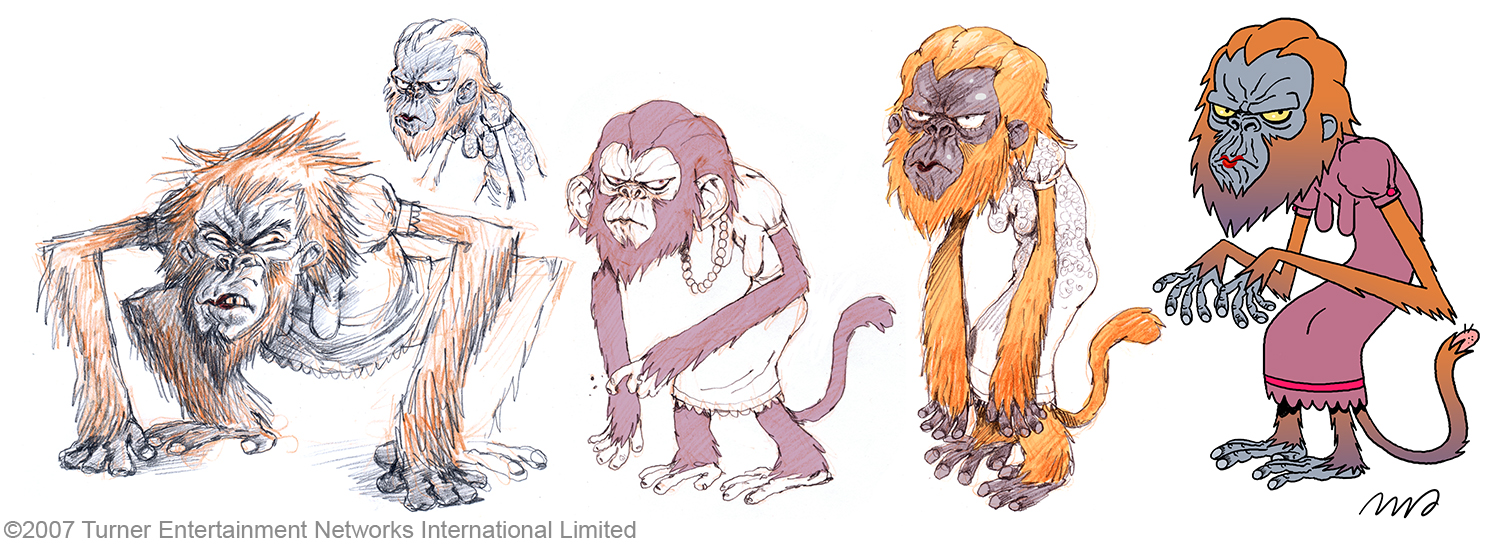 Miss Simian early sketches.