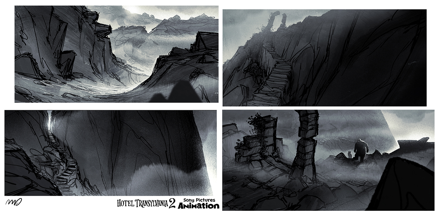 Originally, Drac and Frank were going on a trip to visit Vlad to his cave. It would be a long and difficult way to get there: through dark paths,  tunnels, bramble fields, high cliffs, stone stairs, and hidden passages. The sequence was also cut in the final film.